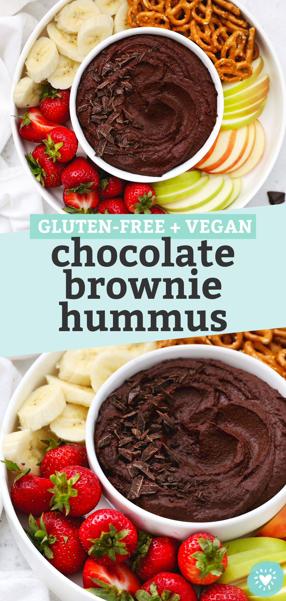 "Two photos of chocolate brownie hummus on a fruit plate with text overlay that reads ""Gluten-Free + Vegan Chocolate Brownie Hummus"""
