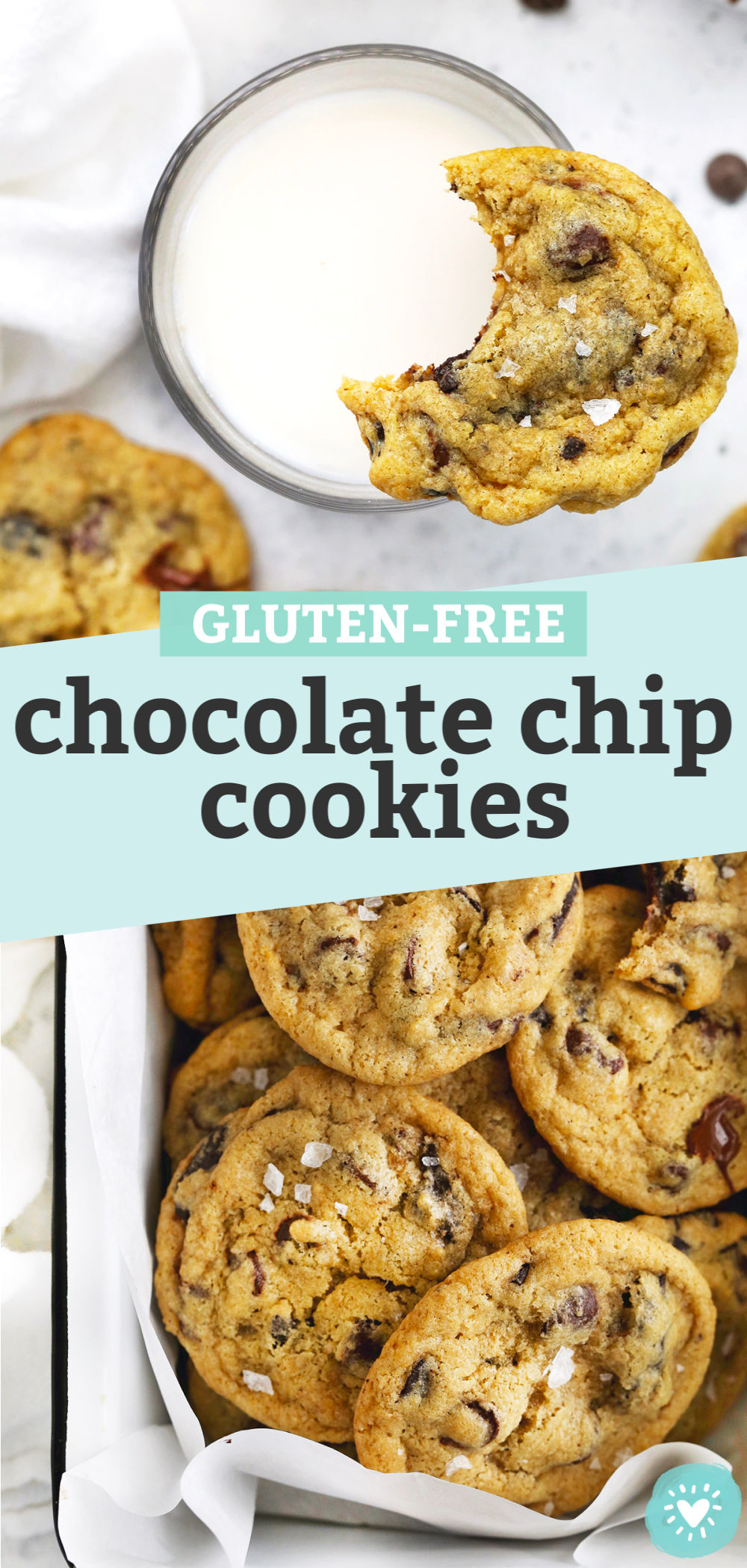 """Collage of images of gluten free chocolate chip cookies with text overlay that reads """"Gluten-Free Chocolate Chip Cookies"""""""