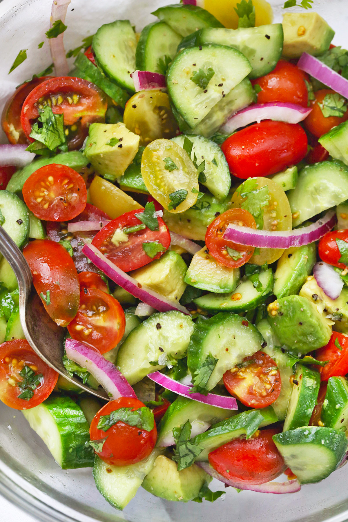 Close-up view of avocado cucumber tomato salad