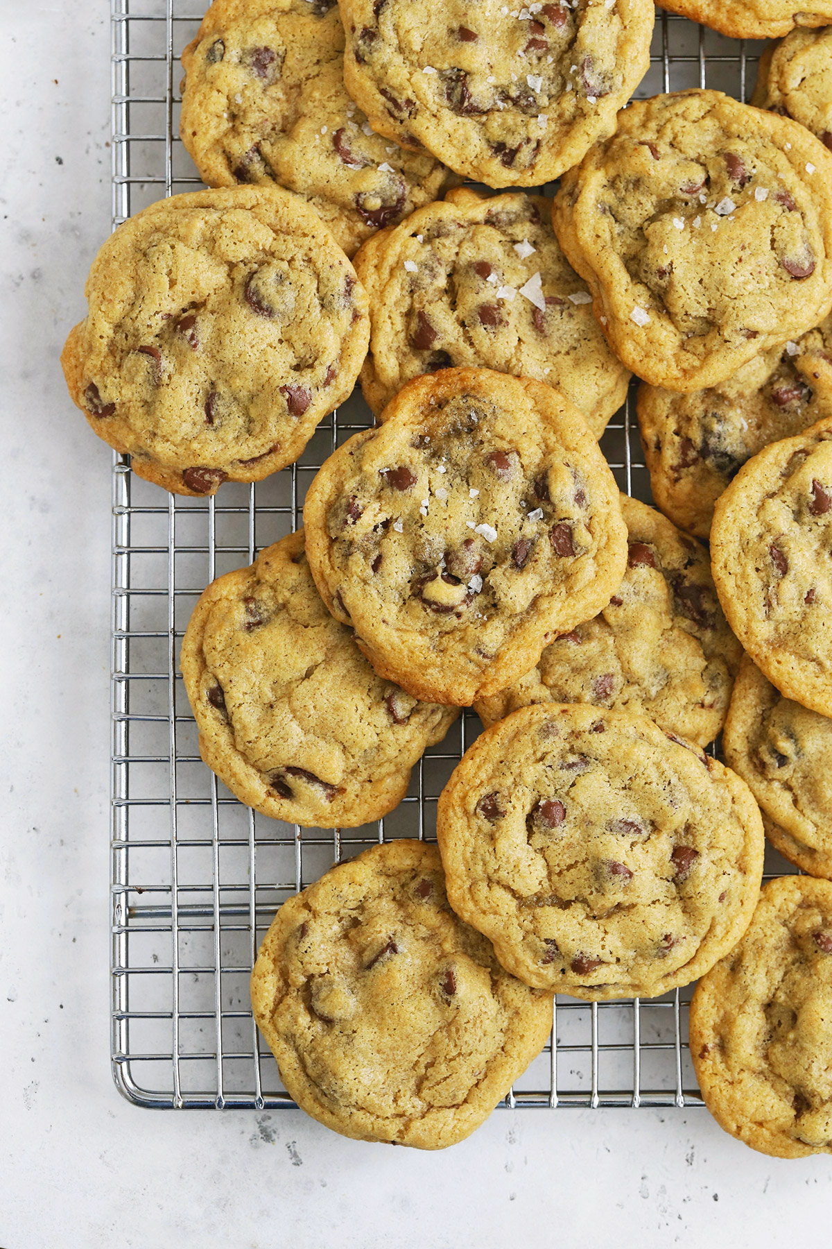 Gluten-Free Chocolate Chip Cookies cooling on a cooling rack