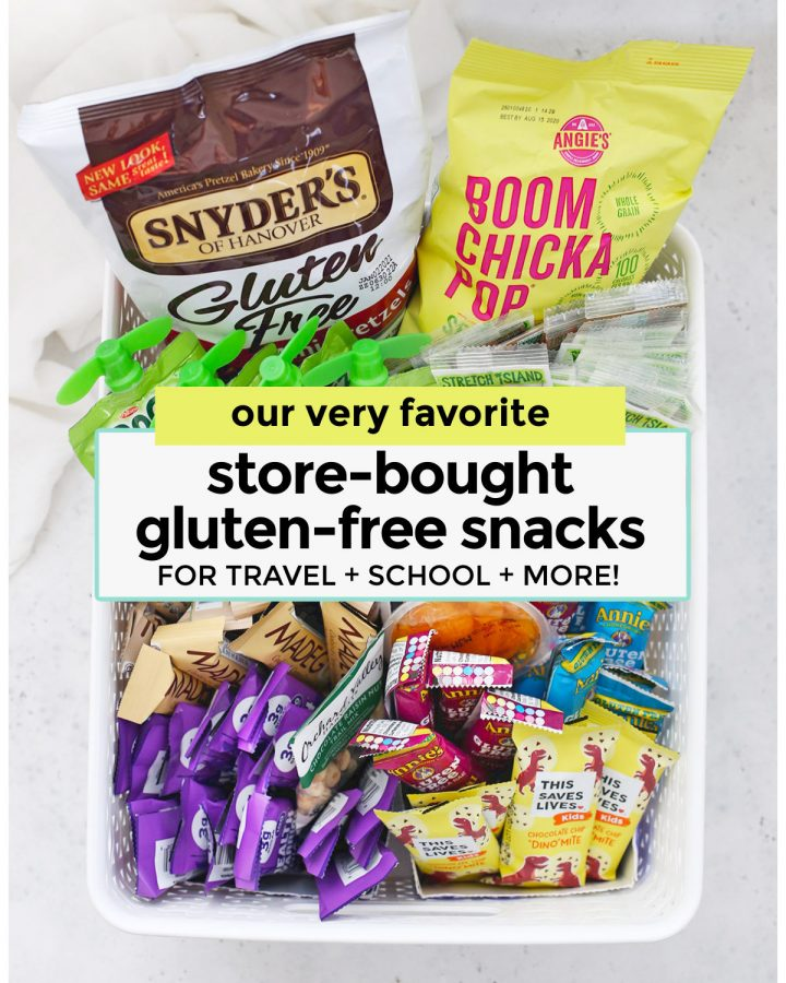 Collage of store-bought gluten-free snacks for kids