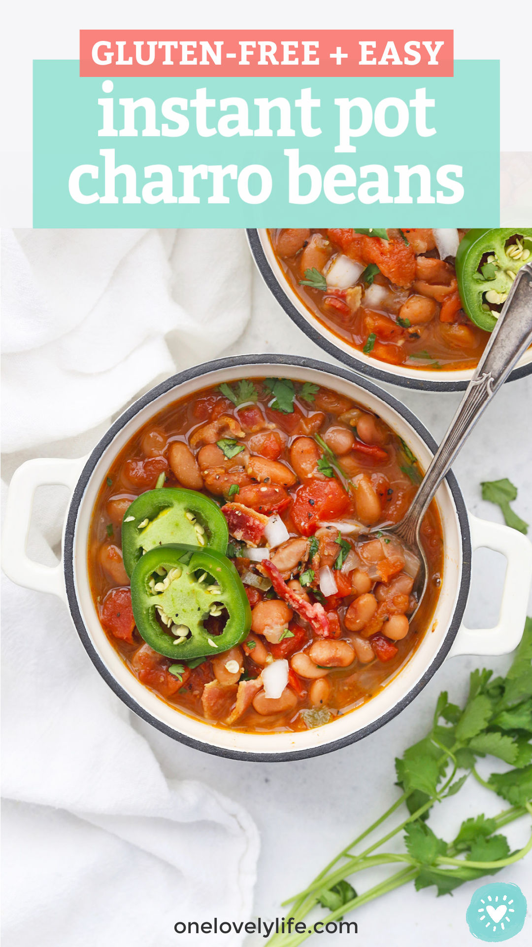 "Two bowls of Instant Pot Charro Beans on a white background with text overlay that reads ""Gluten-Free + Easy Instant Pot Charro Beans"""