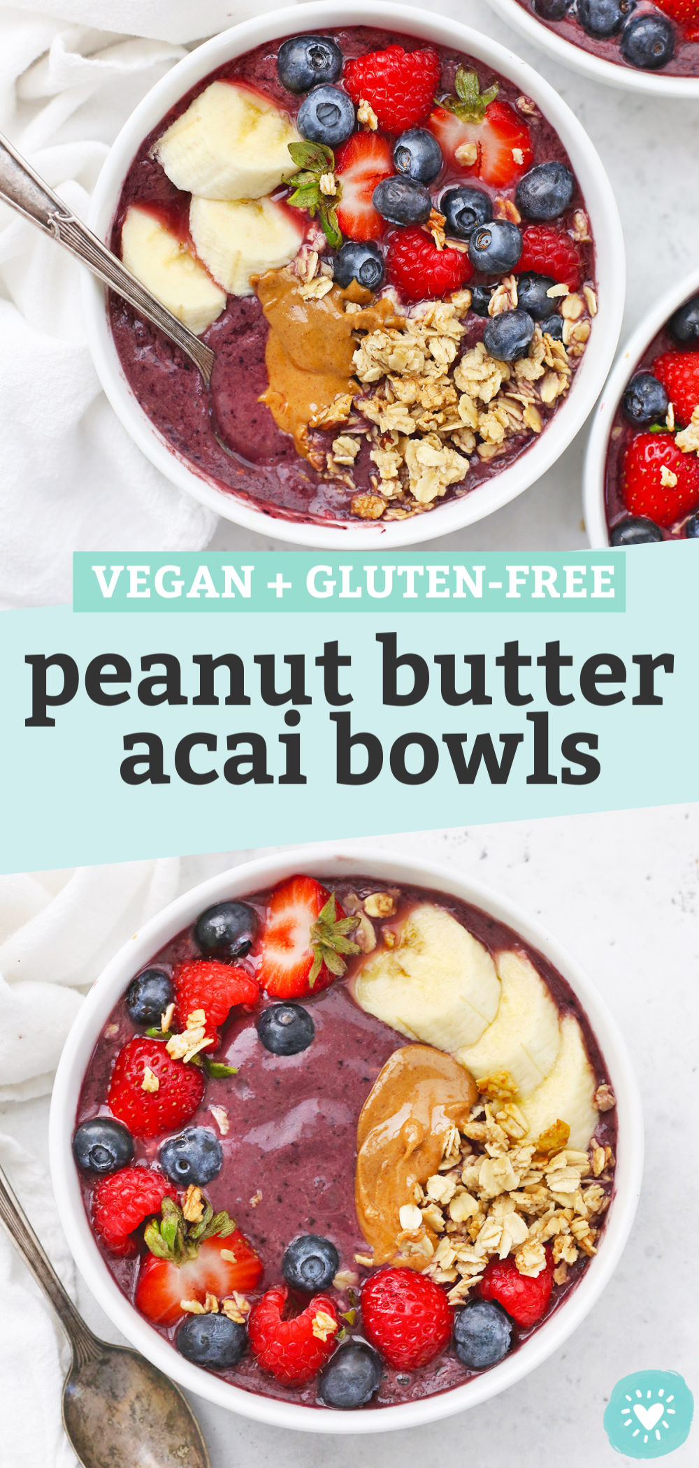 "Collage of images of peanut butter acai bowls with text overlay that reads ""Vegan + Gluten-Free Peanut Butter Acai Bowls"""