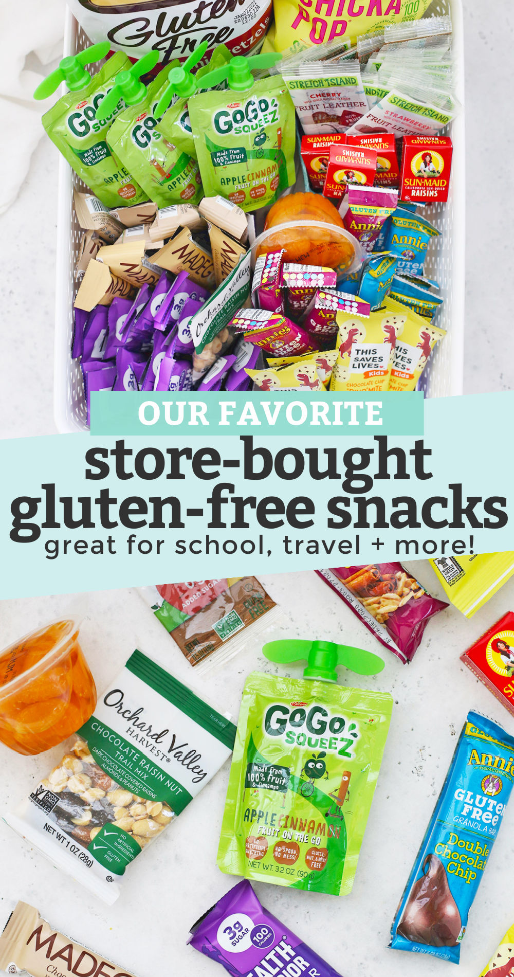 """Collage of images of store-bought gluten-free snacks with text overlay that reads """"our favorite store-bought gluten-free snacks. great for school, travel + more!"""""""