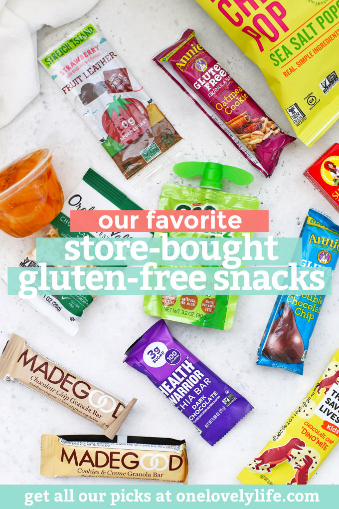 """with text overlay that reads """"our favorite store-bought gluten-free snacks"""""""