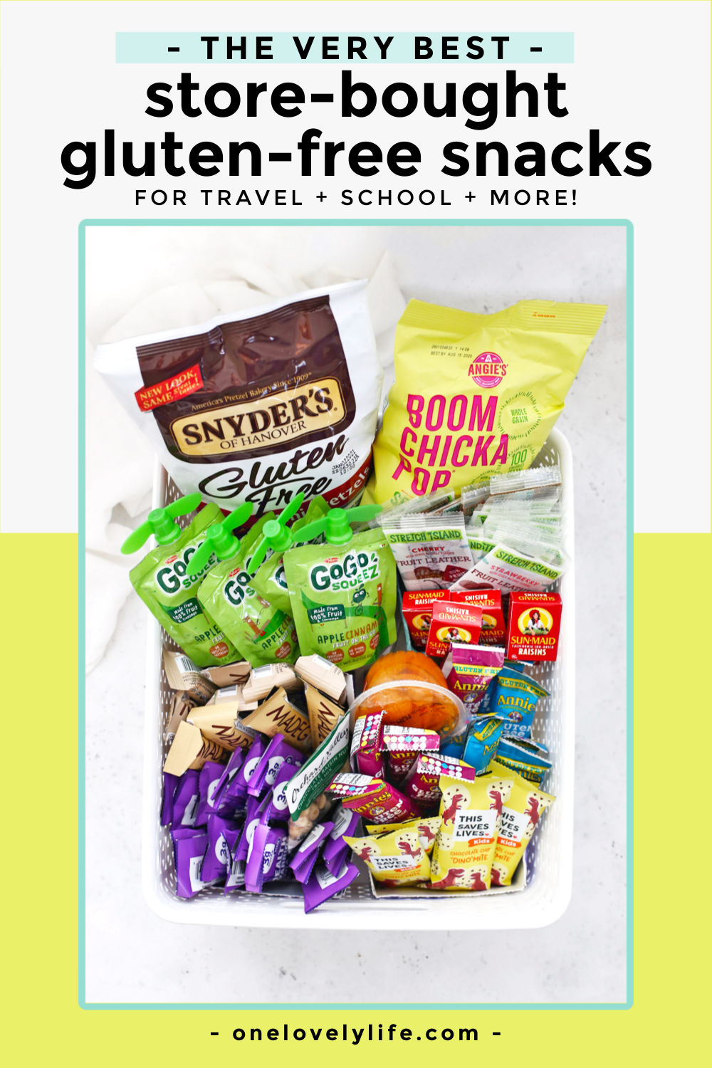 Our Favorite Store-Bought Gluten-Free Snacks For Kids. Easy to buy gluten-free snacks for kids. Perfect for school, travel, taking on the go, or keeping on hand for friends and family! // Gluten-Free Snacks // Gluten-Free Snack Ideas // Gluten-Free School Snacks // Travel Snacks // Kids Snacks #snacks #travel #school #glutenfree