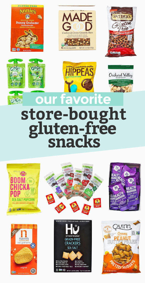 """A collage of gluten-free snack foods with text overlay that reads """"our favorite store-bought gluten-free snacks"""""""