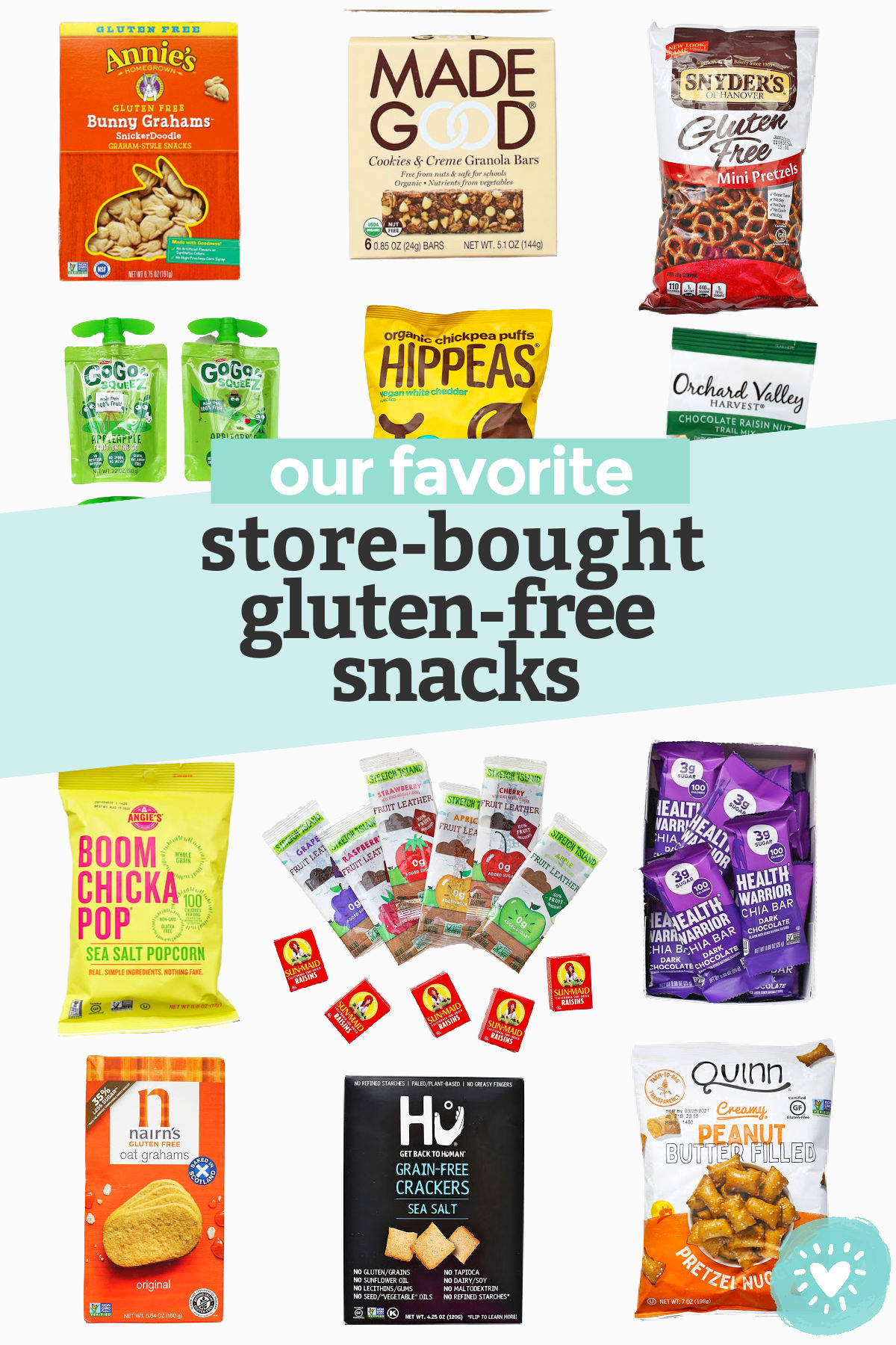 "with text overlay that reads ""our favorite store-bought gluten-free snacks"""