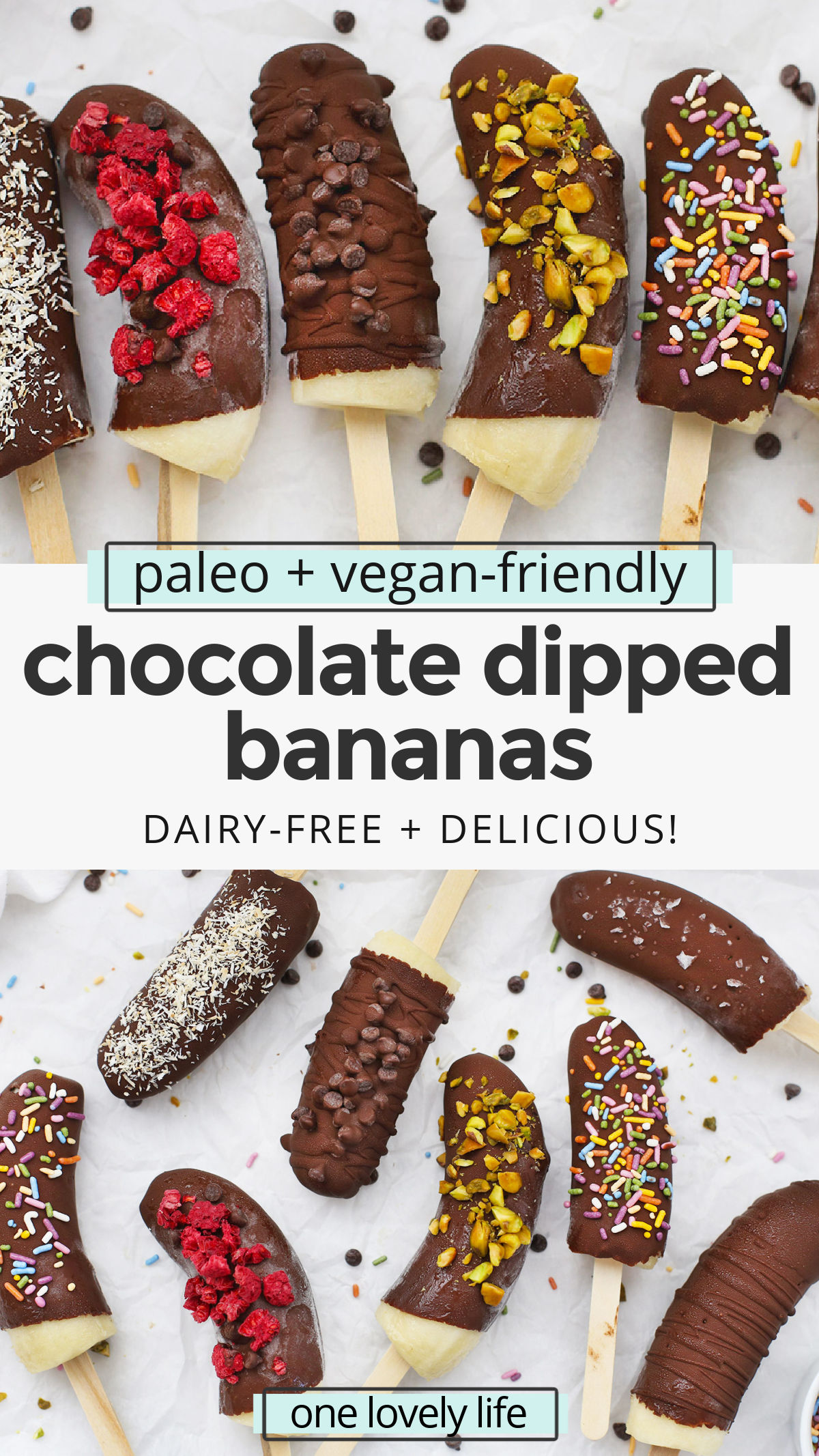 Healthy Chocolate Covered Bananas - These chocolate-dipped bananas are a delicious healthy snack or healthy dessert. Plus, they're gluten-free, vegan & paleo! // Chocolate Covered Banana Pops // Frozen Chocolate Bananas #paleo #healthytreat #healthysnack #vegan #bananas #chocolate