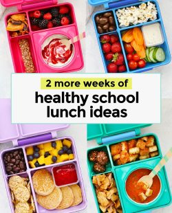 Collage of images of gluten-free healthy school lunches for kids in colorful lunch boxes