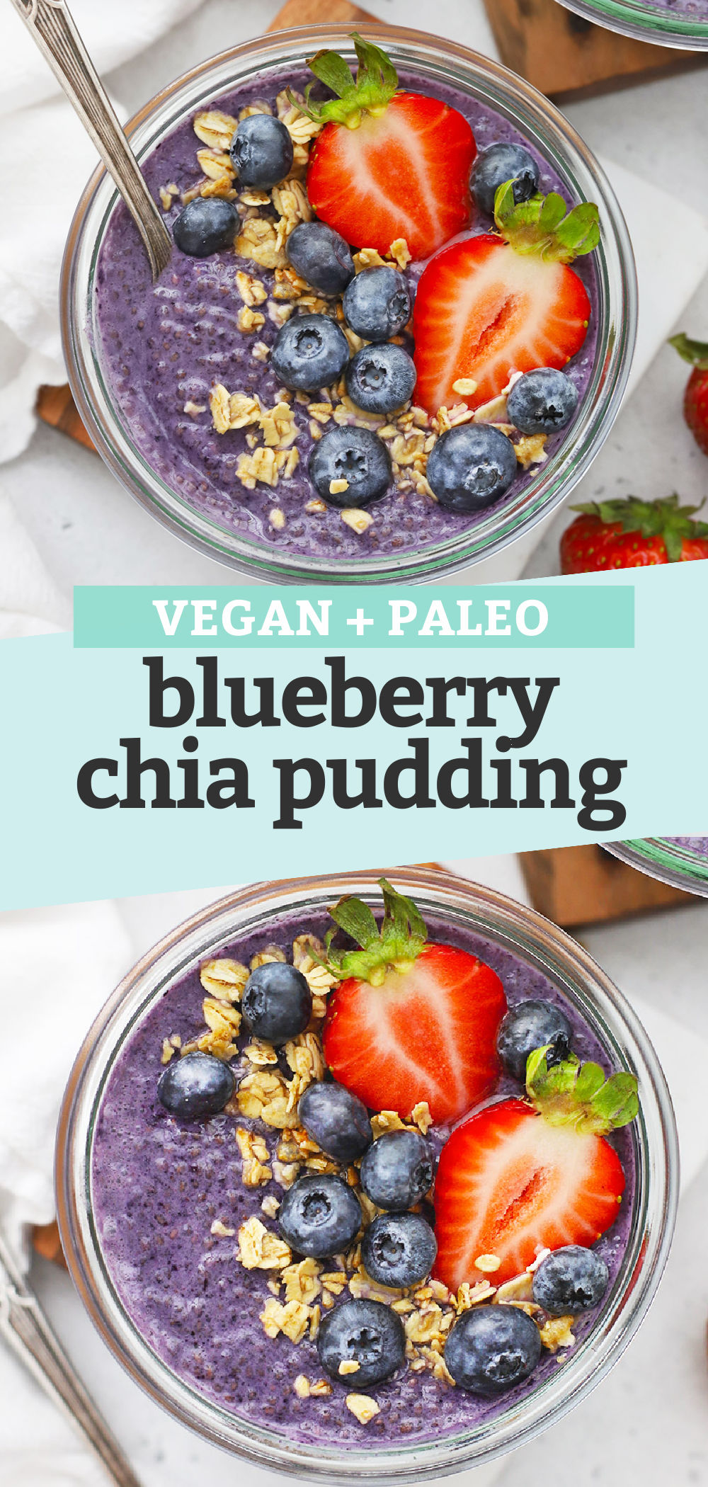 "Collage of images of Blueberry Chia Pudding with text overlay that reads ""Vegan + Paleo Blueberry Chia Pudding"""
