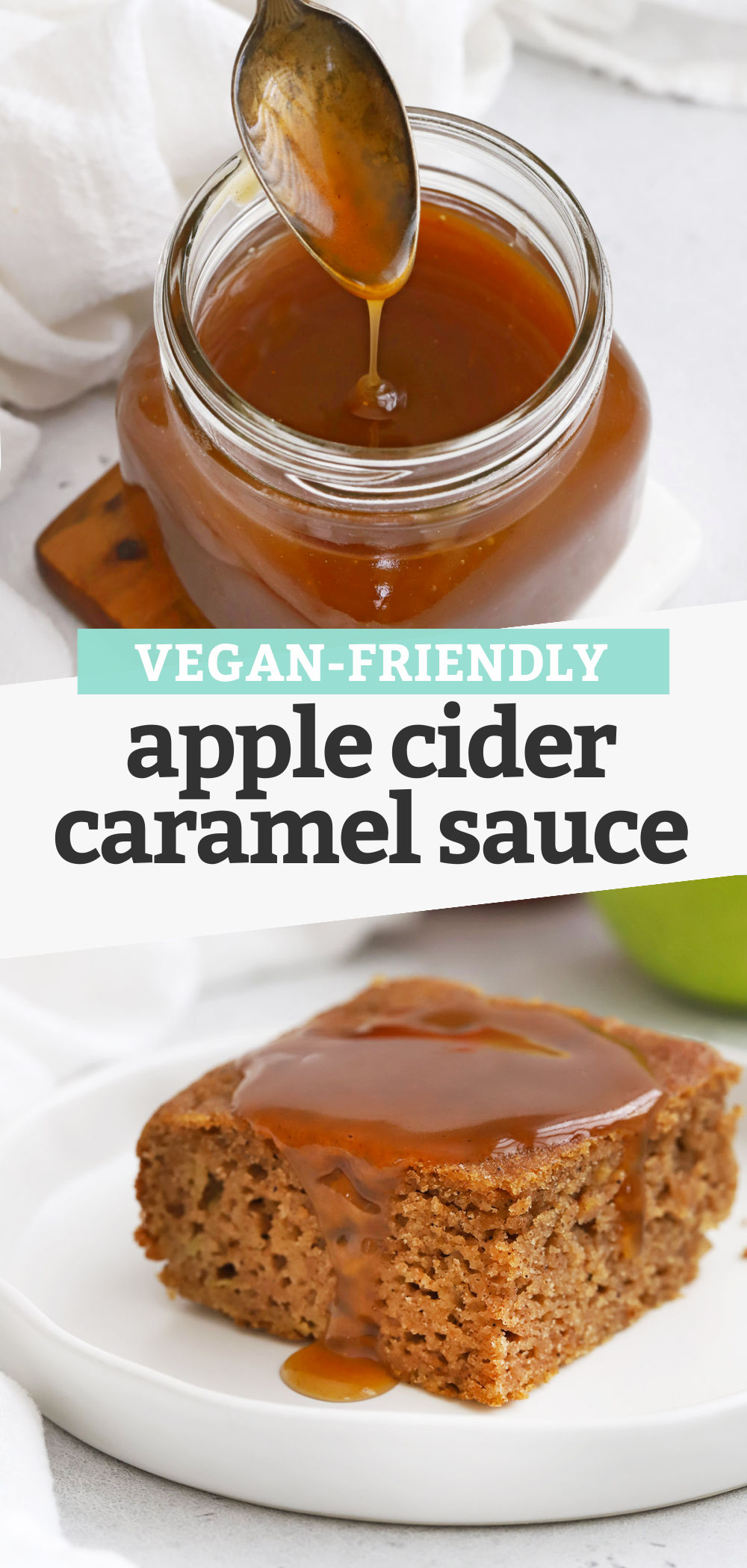 """Collage of images of apple cider caramel sauce with text overlay that reads """"Vegan-Friendly Apple Cider Caramel Sauce"""""""