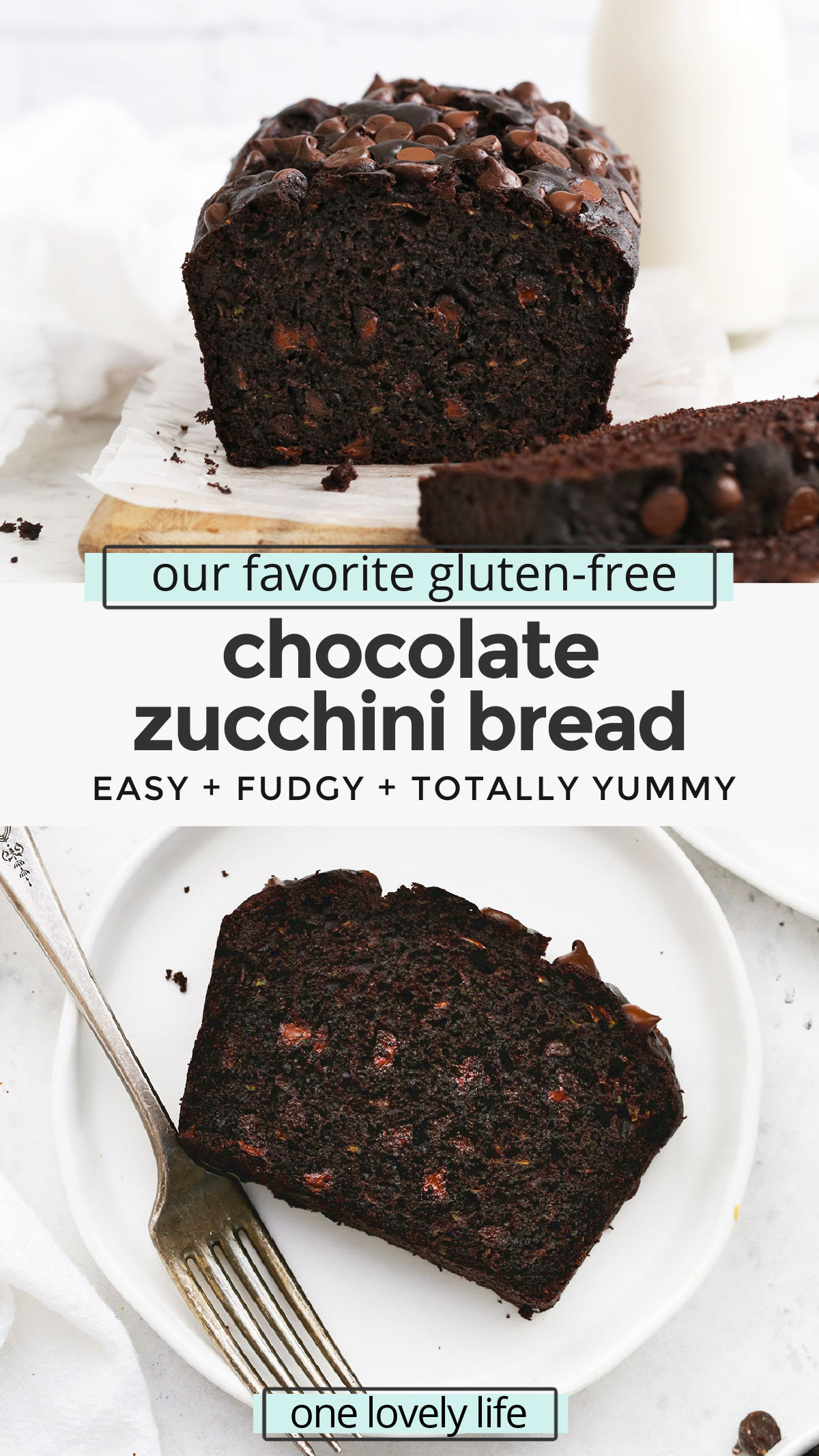 Gluten-Free Chocolate Zucchini Bread - This ultra chocolatey gluten-free zucchini bread is AMAZING. The perfect way to use up extra zucchini in the summer! (Gluten-Free, Dairy-Free) // Gluten Free Zucchini Bread Recipe // Chocolate Chip Zucchini Bread Recipe // Gluten Free Baking #glutenfree #chocolate #zucchini #zucchinibread