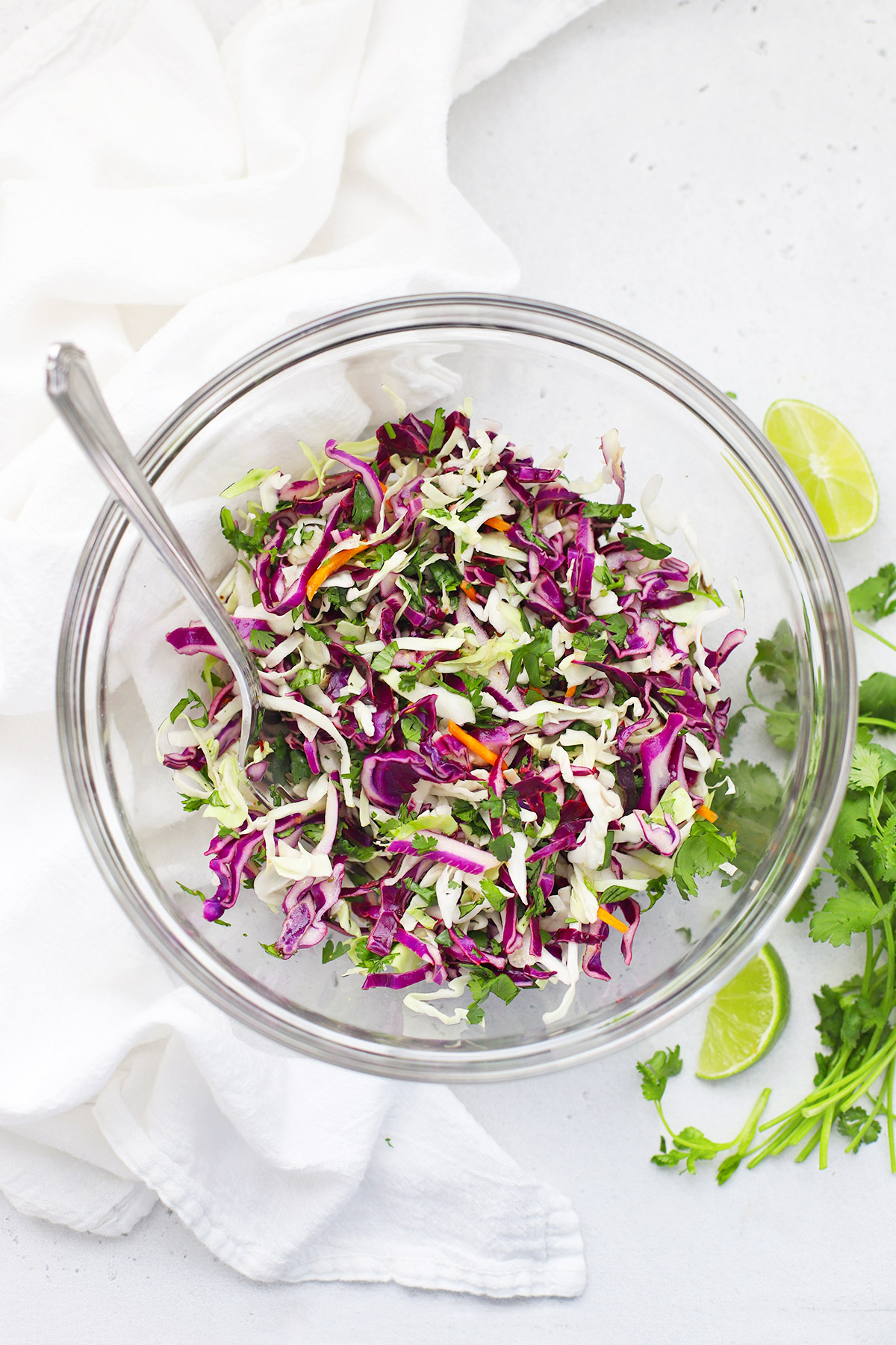 Cilantro Lime Slaw in a Glass Bowl