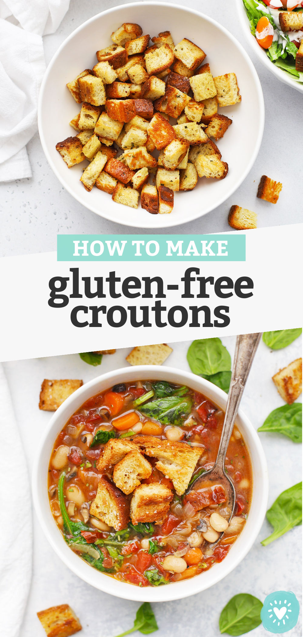 "Collage of images of gluten-free croutons with text overlay that reads ""How to Make Gluten-Free Croutons"""