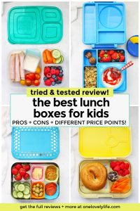 A collage of images of kids lunch box review with the best kids lunch boxes