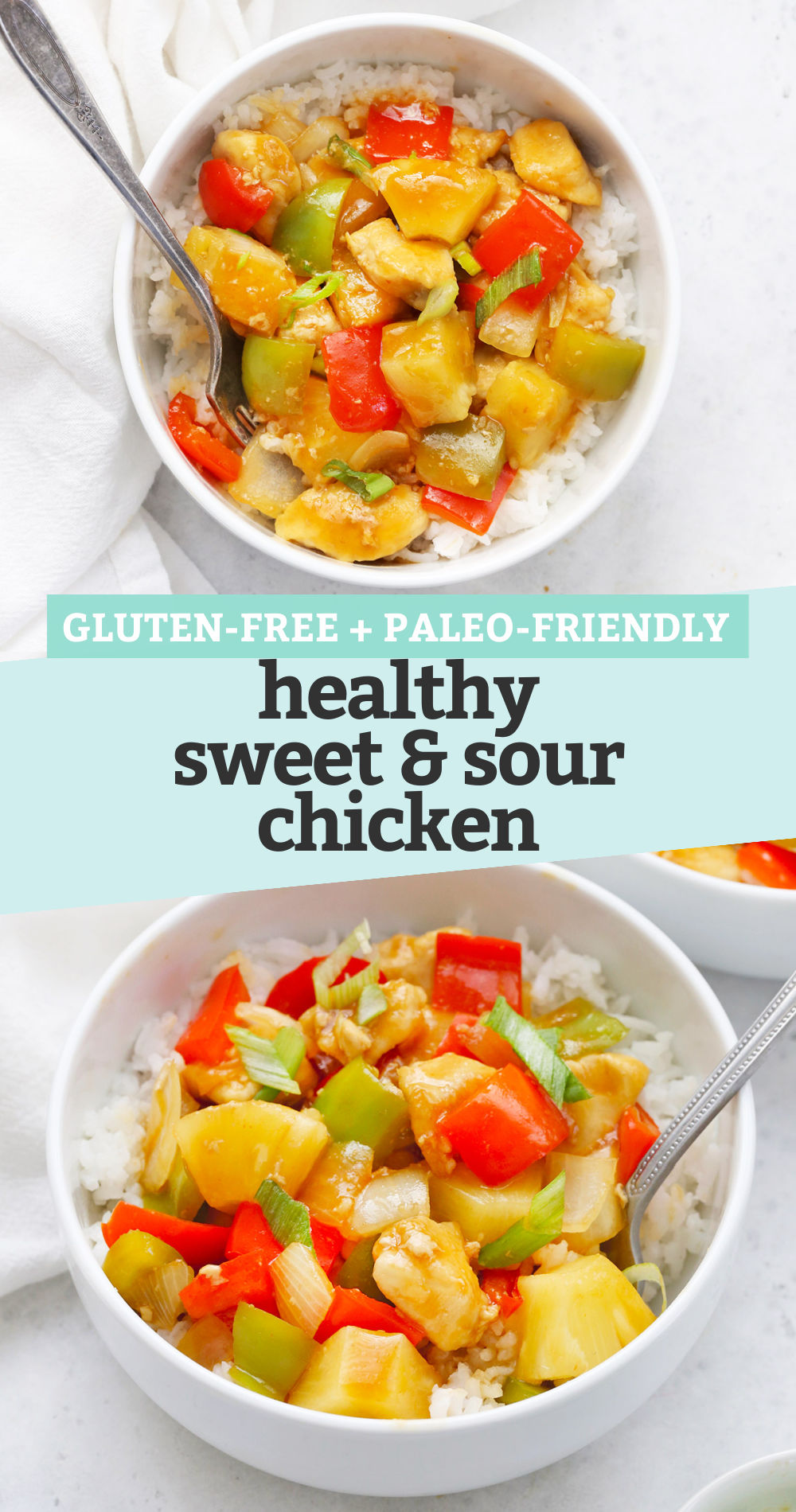 """Collage of images of healthy sweet and sour chicken with text overlay that says """"Gluten-Free + Paleo-Friendly Healthy Sweet & Sour Chicken"""""""