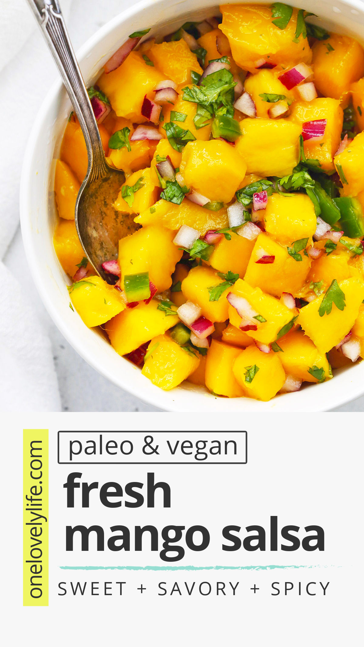 Fresh Mango Salsa - This mango salsa makes just about anything taste better! It's the perfect blend of spicy and sweet. (Naturally gluten-free, vegan, and paleo) // Mango Salsa Recipe // Easy Homemade Salsa // Tex-Mex // Healthy appetizer // Healthy dip // mango recipes // mango salsa for tacos // #mango #mangosalsa #salsa #appetizer #dip
