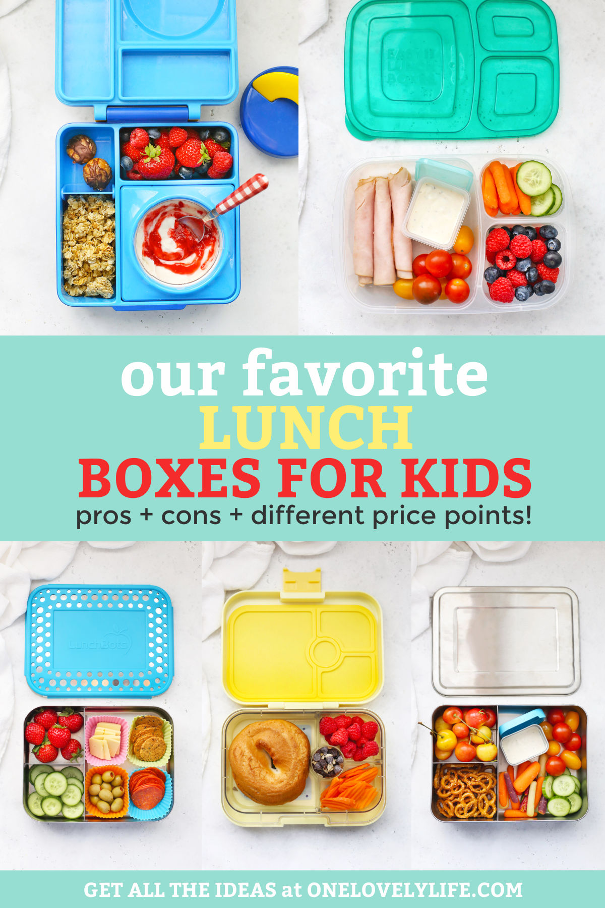 """Our Favorite Kids Lunch Boxes - Omie Box Lunchbox, Easy Lunchboxes lunch box, Bentgo Kids, Wee Sprout Lunch Box, and Lunch Bots with text overlay that reads """"Our Favorite Lunch Boxes for Kids. Prose + Cons + Different Price Points!"""""""