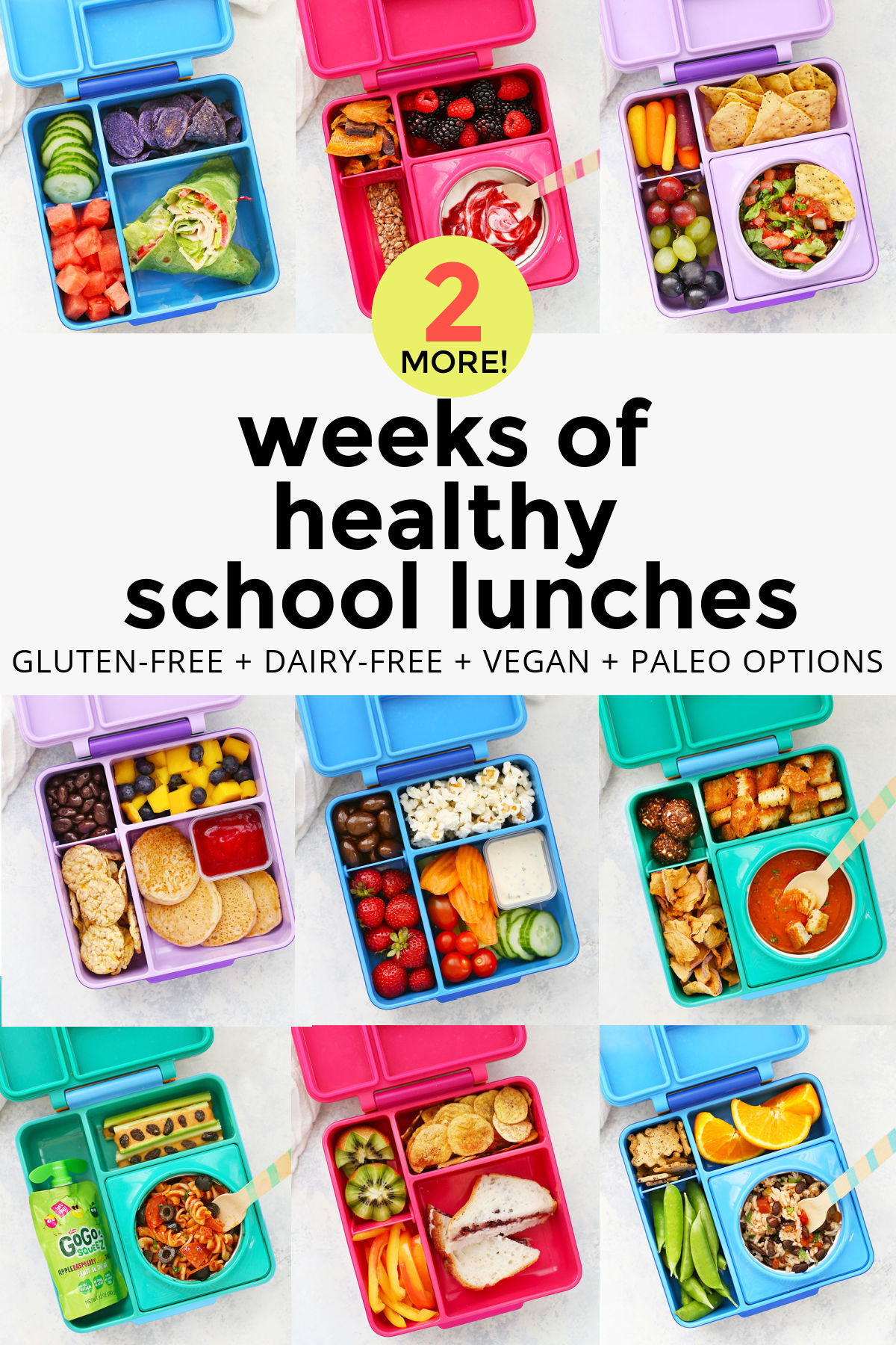 2 Weeks of Healthy School Lunches! These gluten free, dairy free school lunch ideas are all kid-tested and DELICIOUS! // School lunches // school lunch ideas // gluten free school lunches // dairy free school lunches // vegan school lunches, paleo school lunches #glutenfree #dairyfree #schoollunch #schoollunches #packedlunches #momhack
