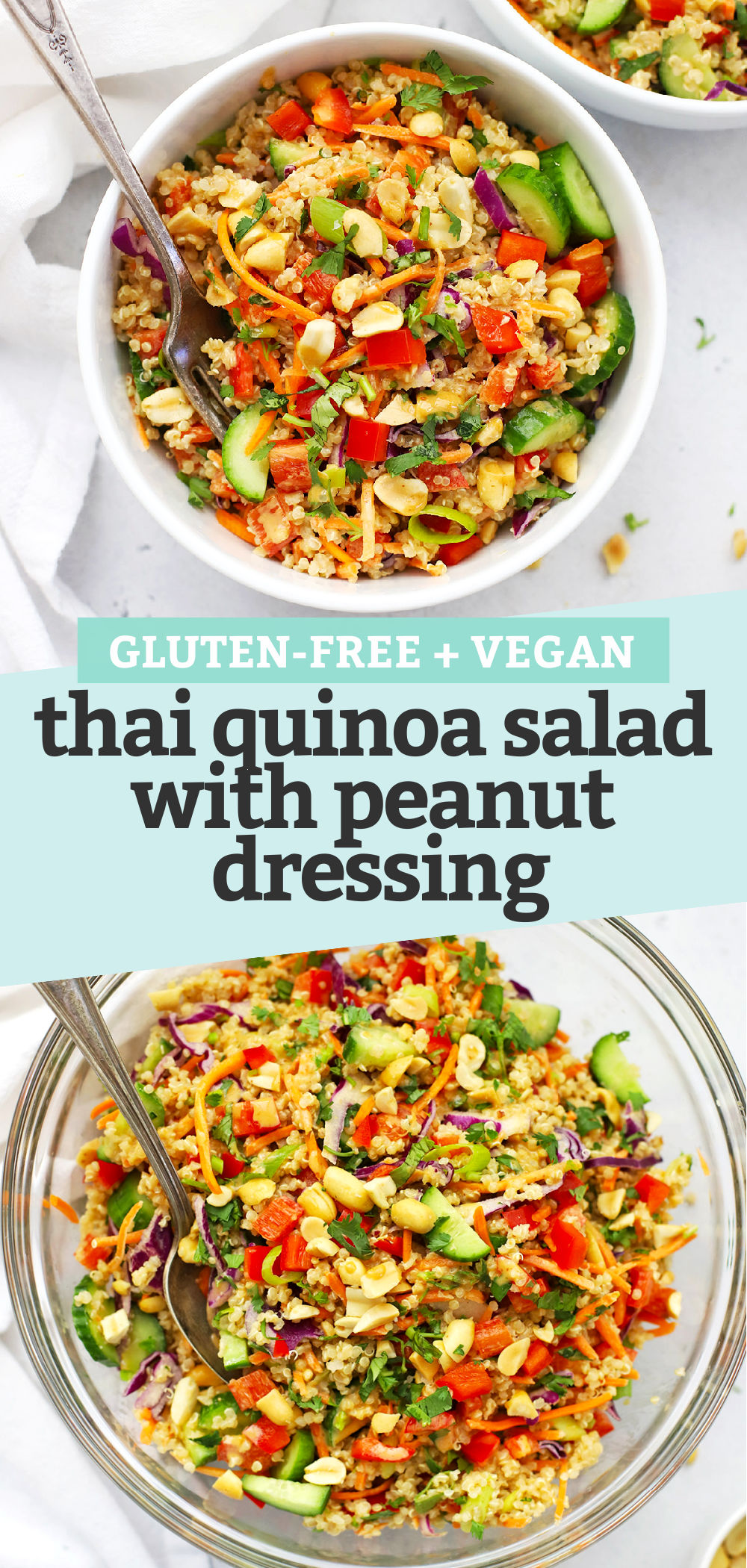 Collage of Images of Thai Quinoa Salad with Peanut Dressing Pouring Peanut Dressing on Thai Quinoa Salad in a glass bowl