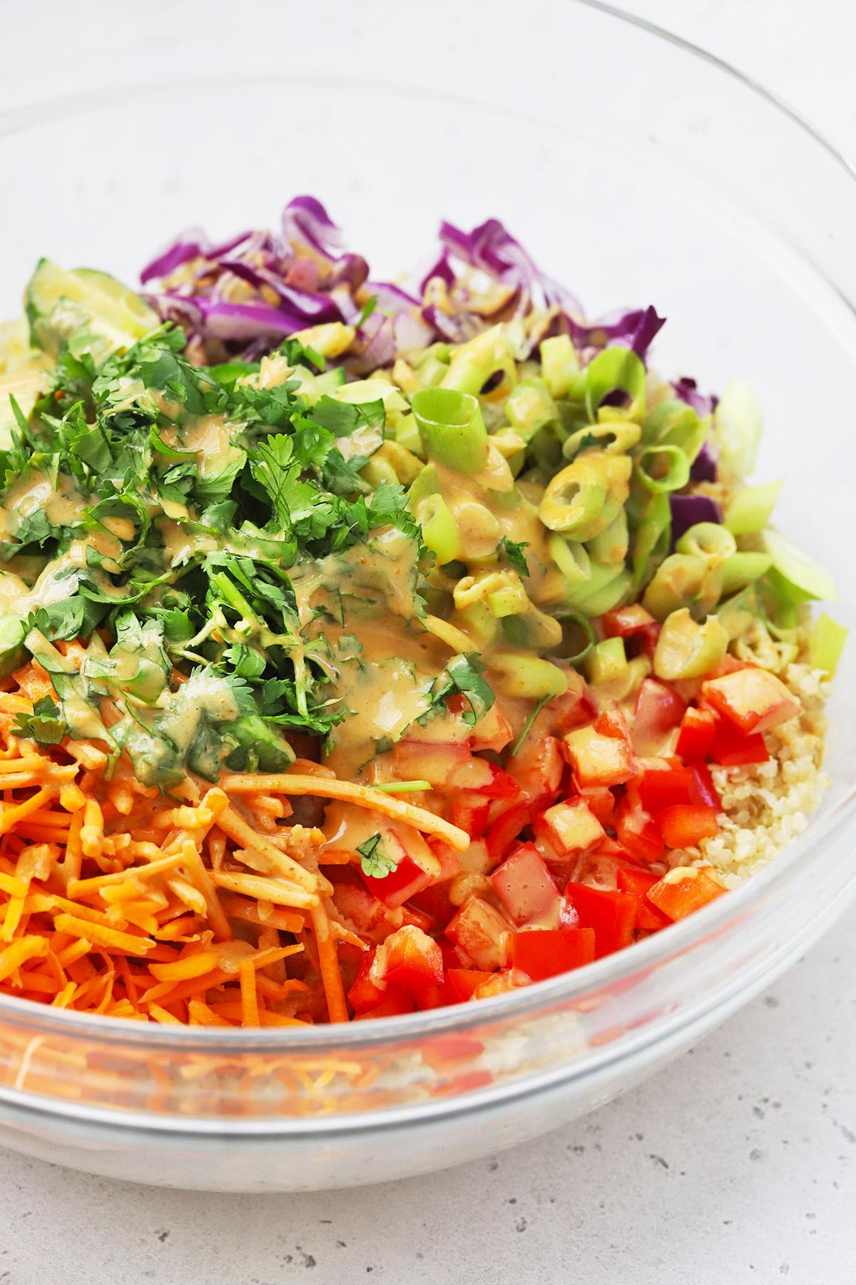 Peanut Dressing Drizzled over Thai Quinoa Salad ingredients