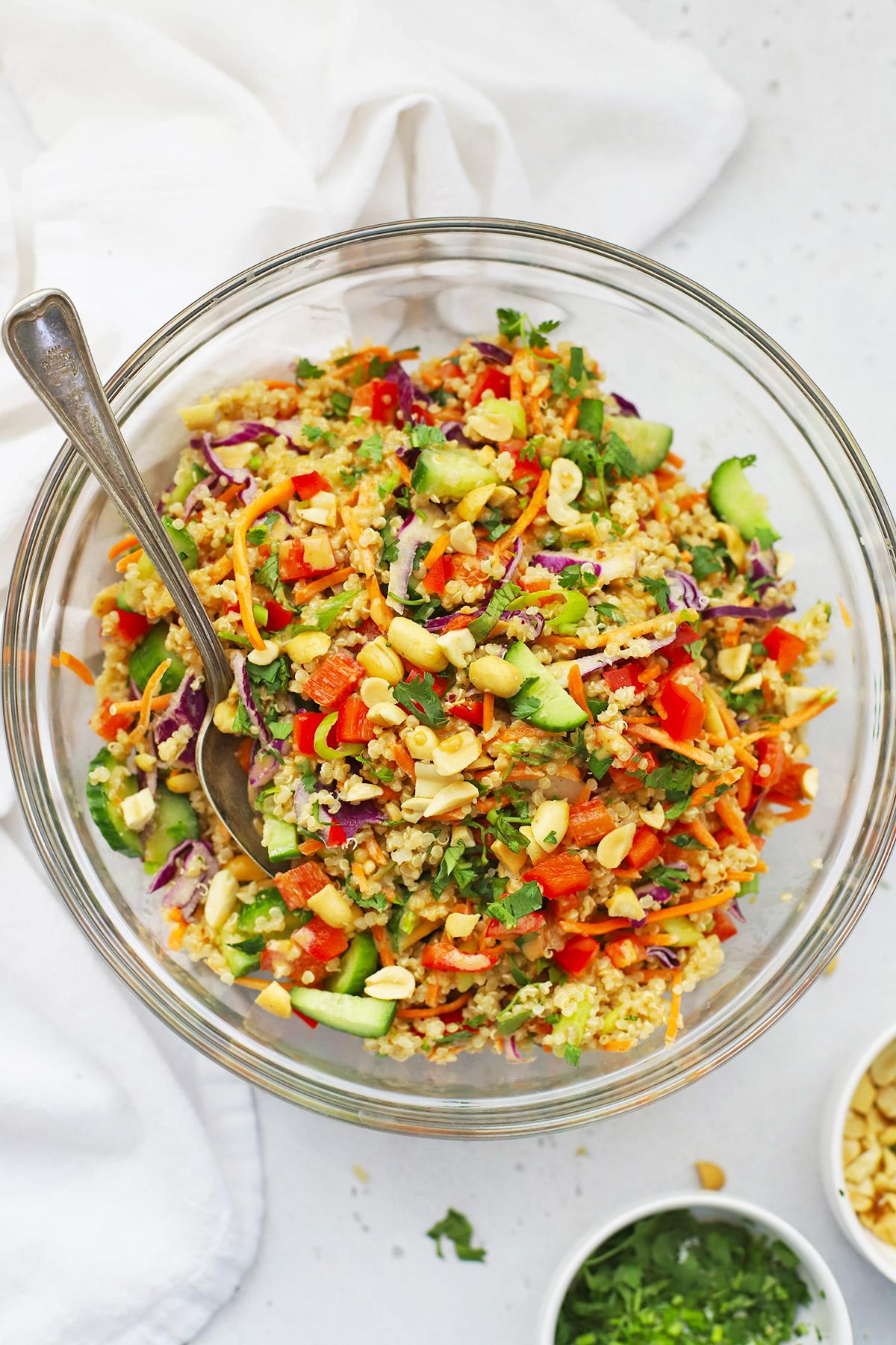 Thai Quinoa Salad in a glass bowl