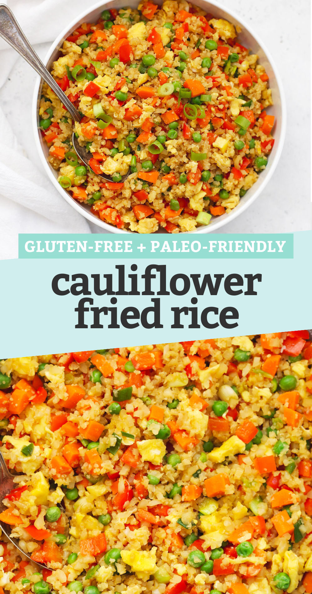 "Collage of images of paleo cauliflower fried rice with a text overlay that reads ""Gluten-Free + Paleo-Friendly Cauliflower Fried Rice"""
