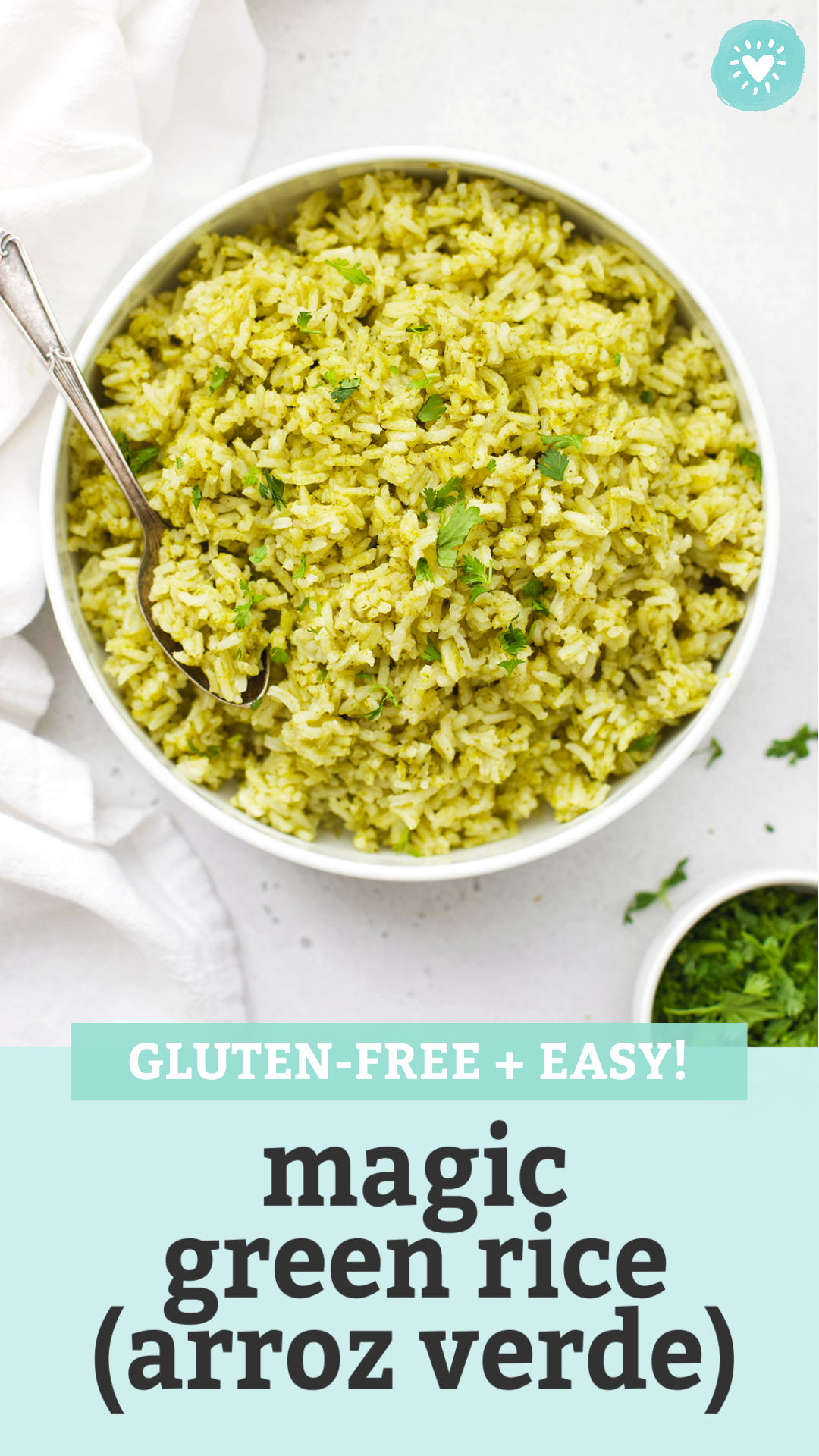 """Mexican Green Rice (Arroz Verde) in a white bowl on a white background with text overlay that reads """"Gluten-Free + Easy Magic Green Rice (Arroz Verde)"""""""