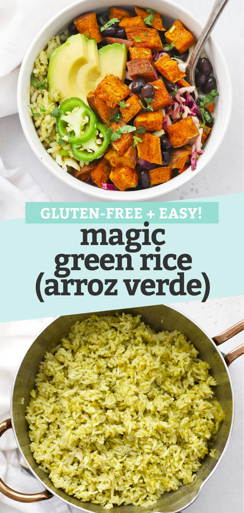 """Collage of images of Mexican Green Rice (Arroz Verde) with a text overlay that reads """"Gluten-Free + Easy Magic Green Rice (Arroz Verde)."""""""