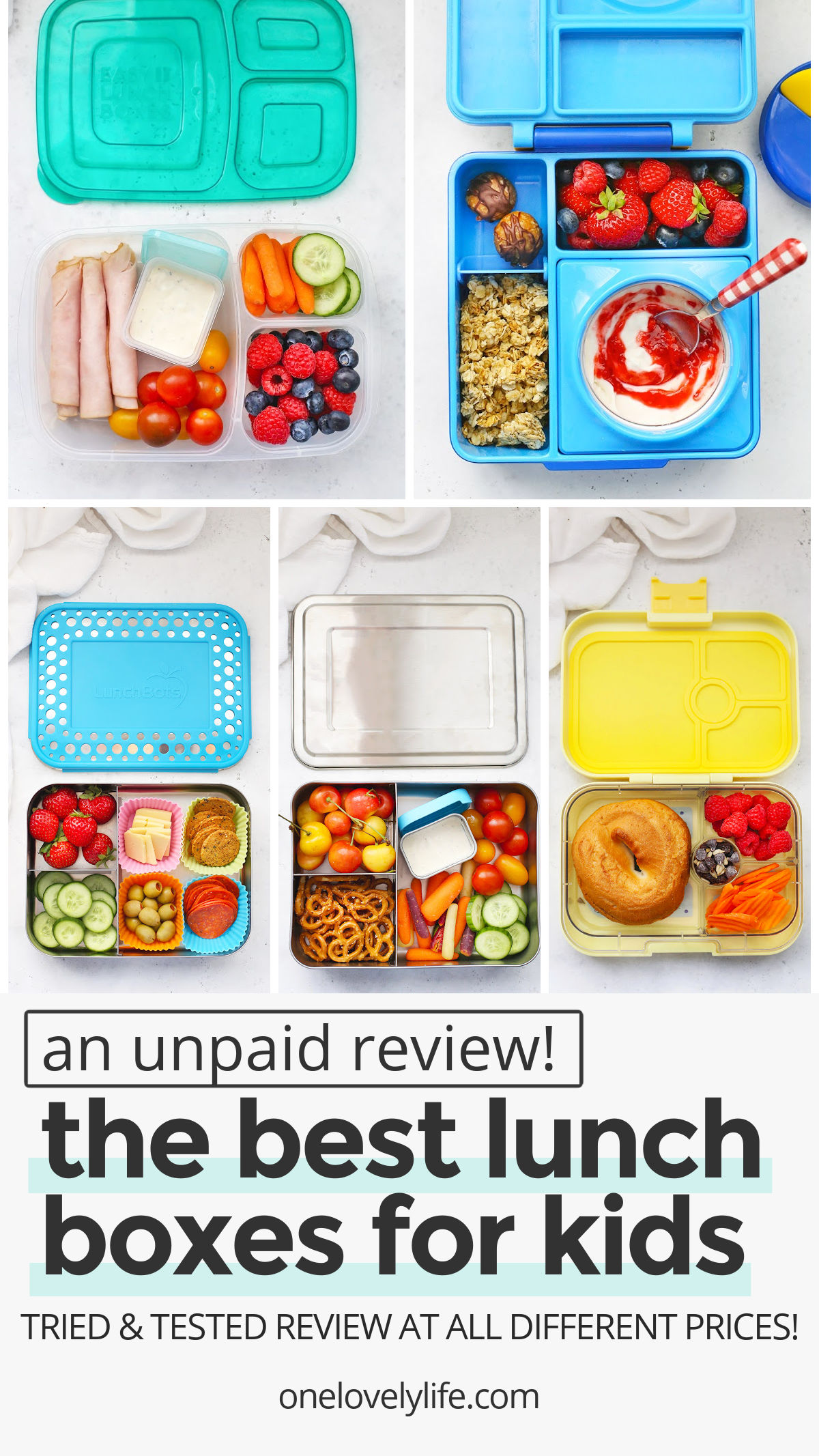 The BEST School Lunch Boxes and Reusable Bags for packing school lunches! Find out the pros and cons of each one. // school lunches // packed lunches // kids lunch box review // lunch boxes // the best kids' lunch boxes // reusable bags // omie box lunch boxes // easy lunchboxes // packed lunches // stashers bags // rezip bags // russbe bags // eco friendly // less waste // healthy kids