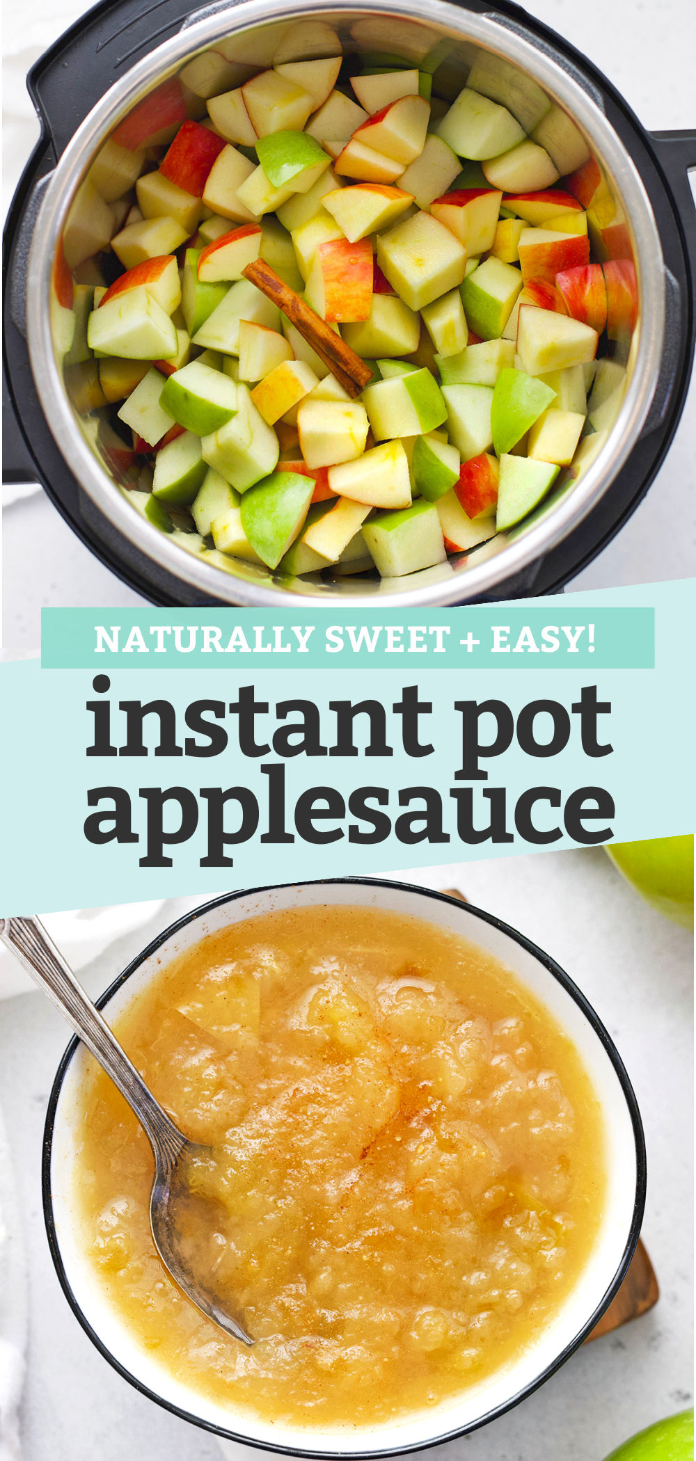 "Collage of photos of Instant Pot Applesauce with text overlay that reads ""Naturally Sweet + Easy Instant Pot Applesauce"""