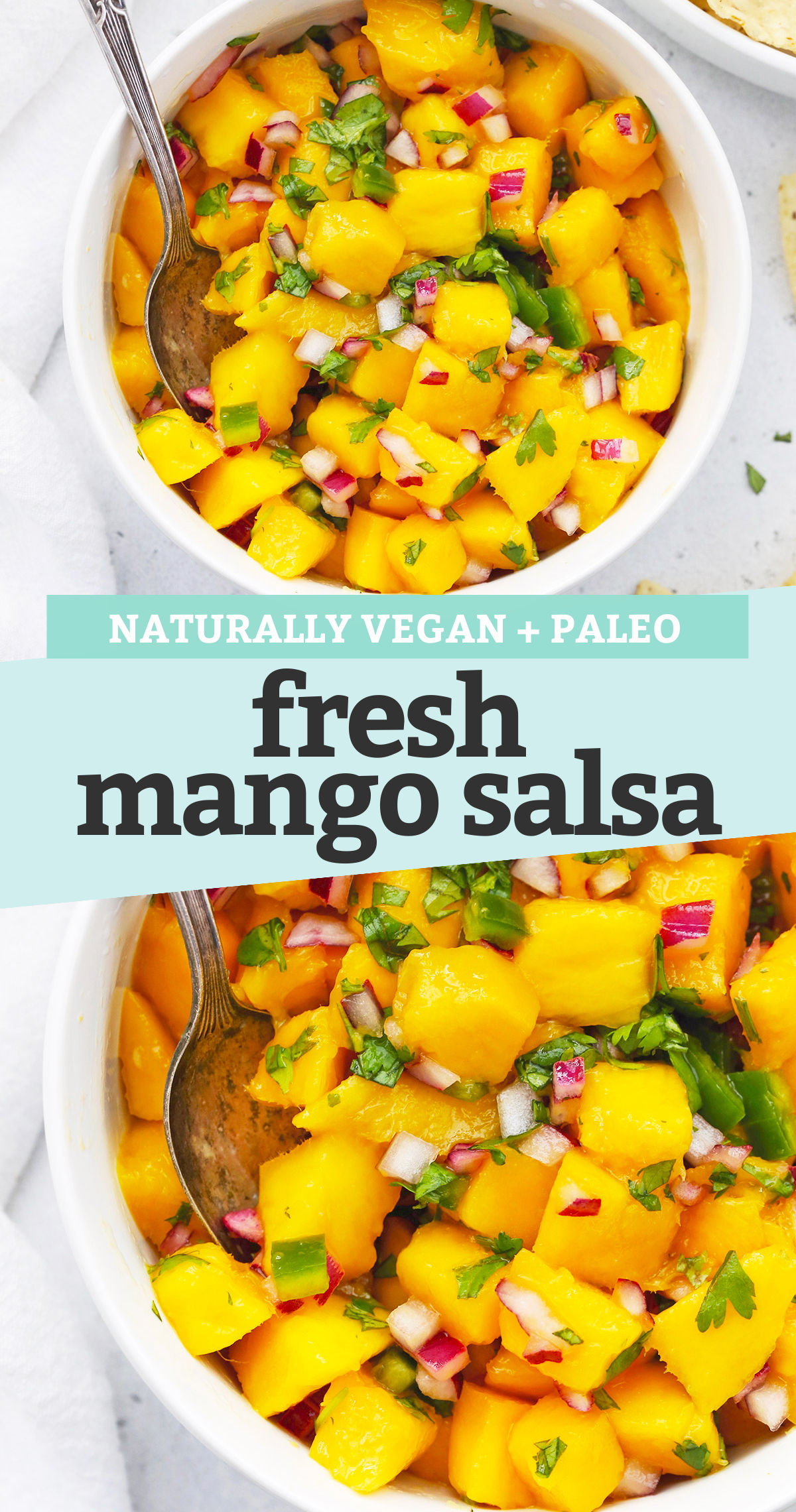 "collage of images of fresh mango salsa with text overlay that reads ""naturally vegan + paleo fresh mango salsa"""