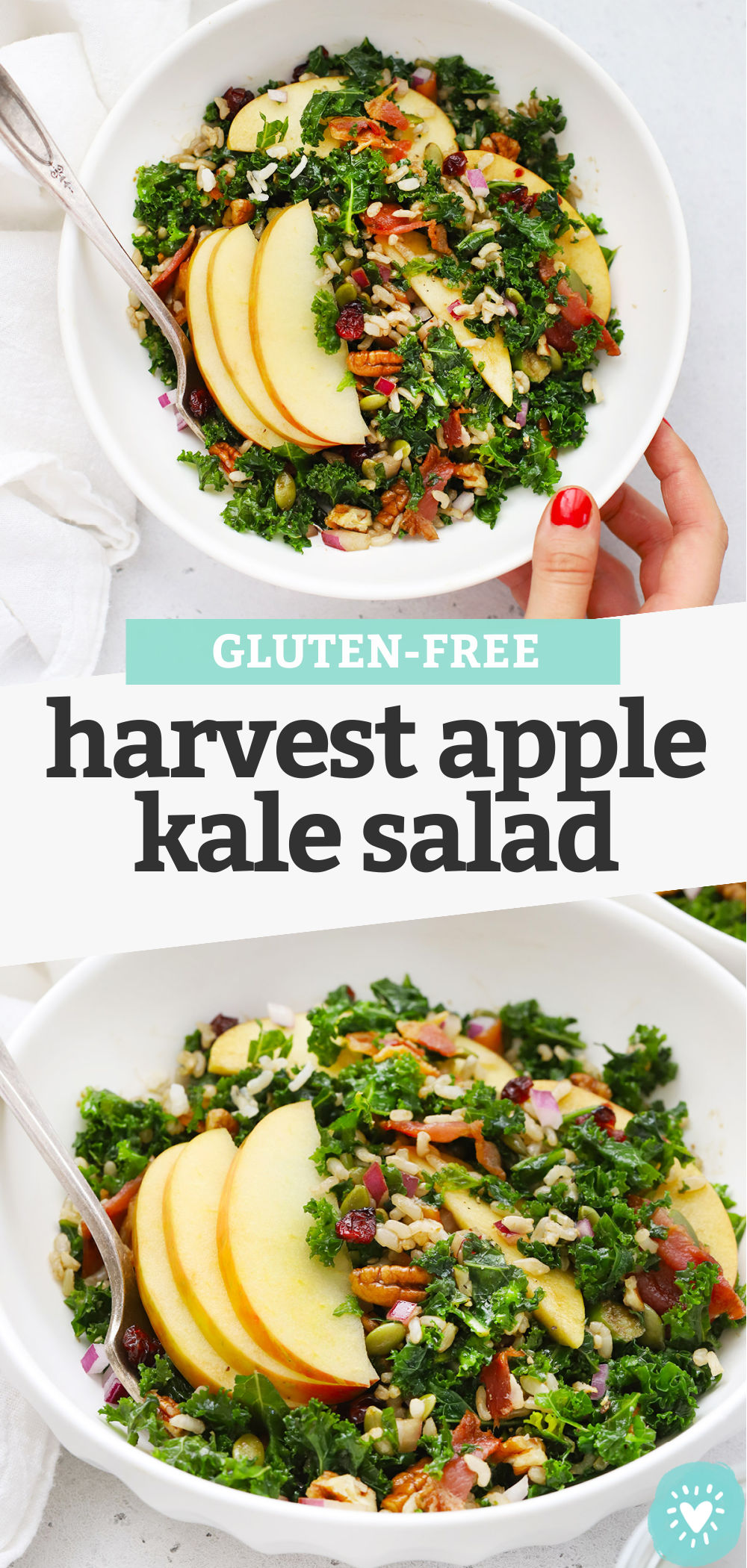 "Collage of images of Harvest Apple Kale Salad with text overlay that reads ""Gluten-Free Harvest Apple Kale Salad"""