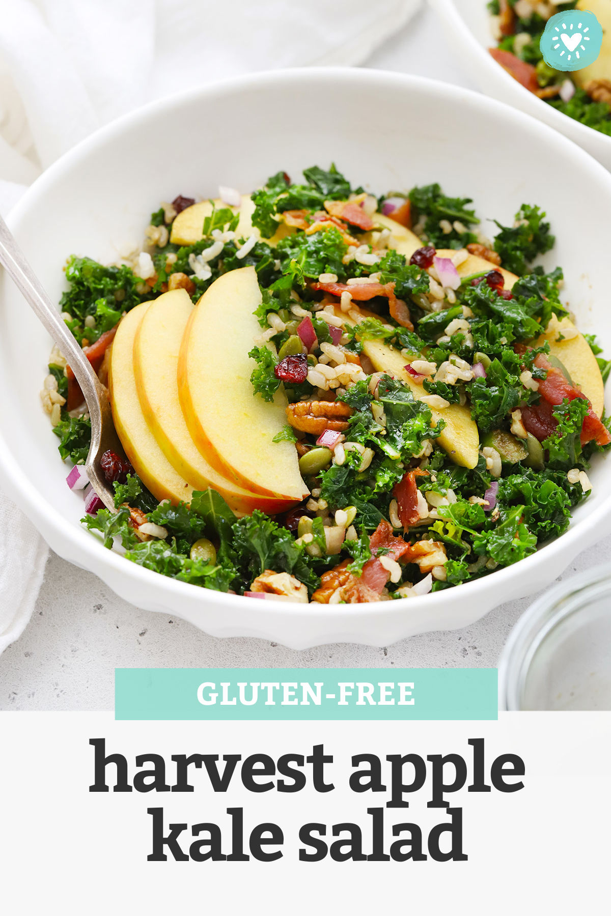 "Front view of bowls of Harvest Apple Kale Salad with Balsamic Dressing with text overlay that reads ""Gluten-Free Harvest Apple Kale Salad"""