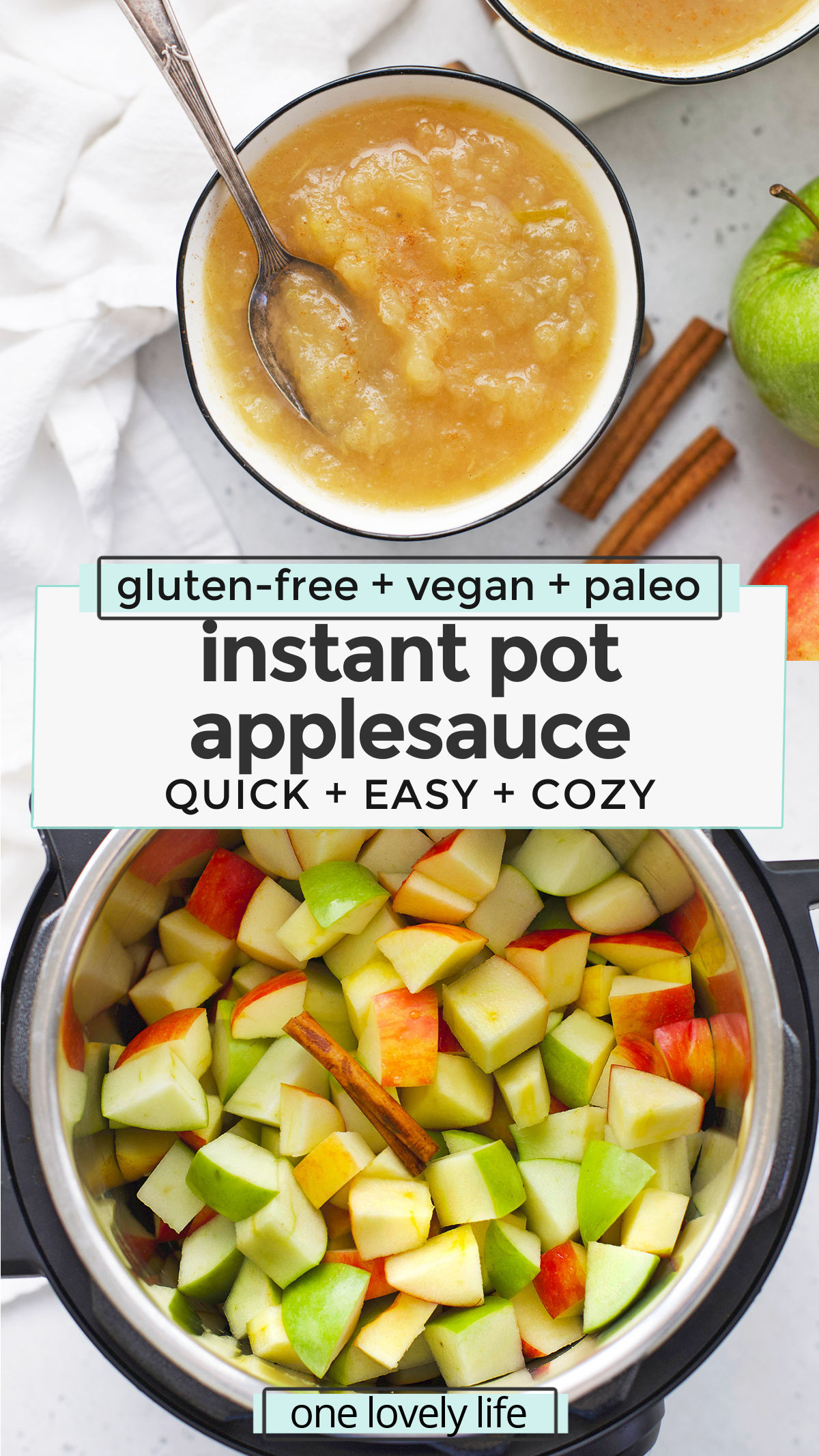 Instant Pot Applesauce - Homemade applesauce made in the pressure cooker! This recipe is easy, delicious, and great for beginners! (Paleo, Vegan) // Instant Pot Applesauce Recipe // No Sugar Added Applesauce // Unsweetened Instant Pot Applesauce #applesauce #instantpot #pressurecooker #sidedish #applerecipes #paleo #vegan
