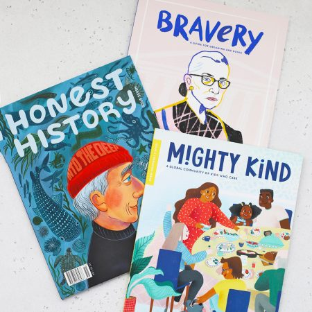 3 Kids Magazines on a White Background. Bravery Magazine, Honest History, and Mighty Kind Magazines.