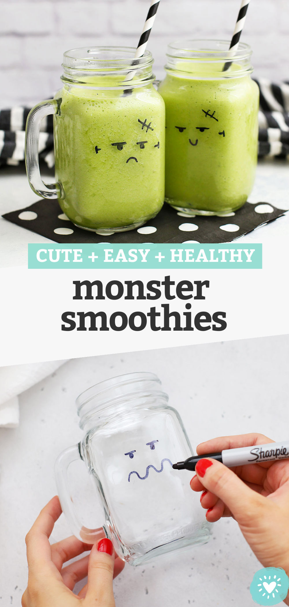 Halloween Monster Smoothies - Learn how to use a marker to make adorable monster smoothies on your smoothie cups. The perfect Halloween breakfast or healthy Hallowen snack! // Halloween ideas for kids // green monster smoothie // halloween party food #halloween #fallrecipe #halloweensnack #healthysnack