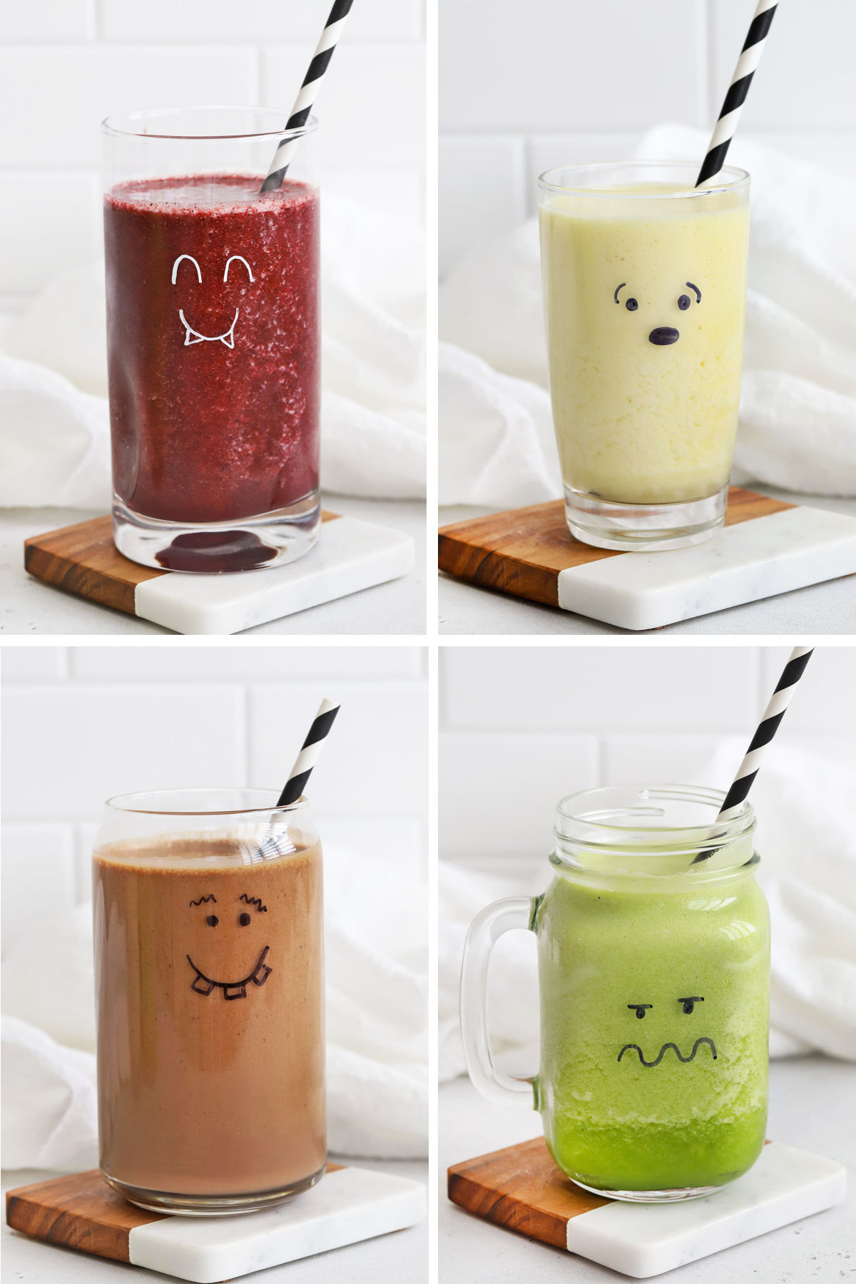 Collage of images of smoothies in glass cups with monster faces drawn on them
