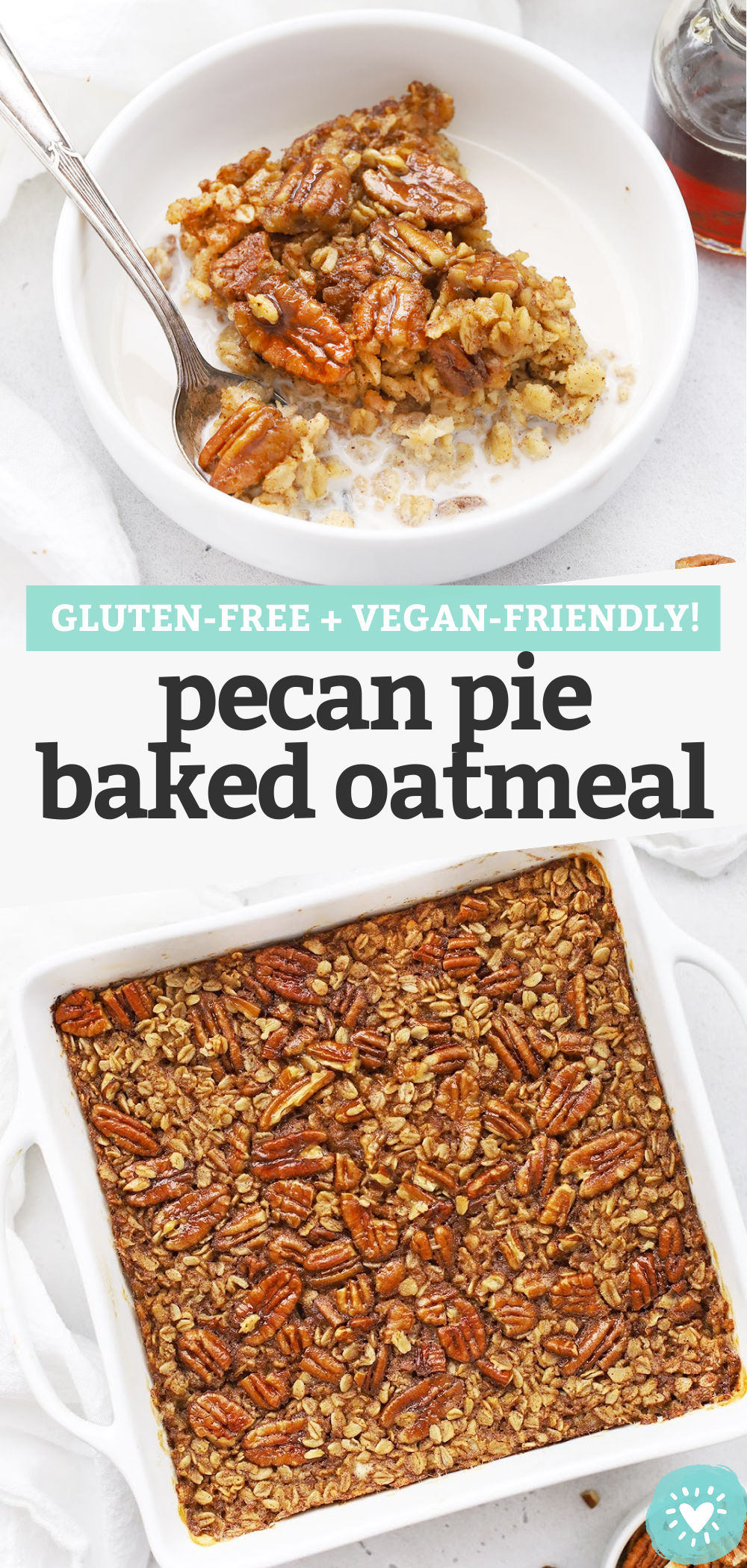 Pecan Pie Baked Oatmeal - This cozy pecan baked oatmeal recipe has notes of cinnamon, vanilla, maple, and pecans to make a delicious meal-prep breakfast your whole family will fall in love with. (Gluten-Free, Vegan-Friendly) // cinnamon pecan oatmeal // baked oatmeal recipe // meal prep breakfast // fall recipe // vegan breakfast // gluten-free breakfast #glutenfree #vegan #bakedoatmeal #oatmeal