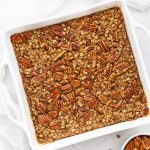 White 8x8 pan of pecan pie baked oatmeal