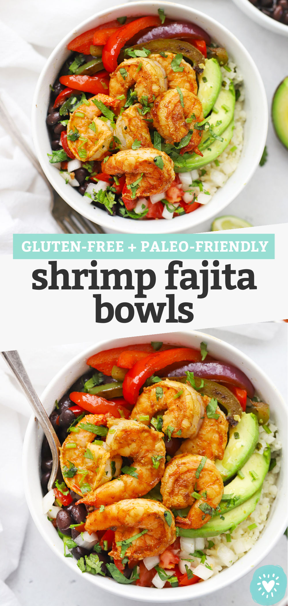 "Collage of images of Shrimp Fajita Bowls with text overlay that reads ""Gluten-Free + Paleo-Friendly Shrimp Fajita Bowls"""
