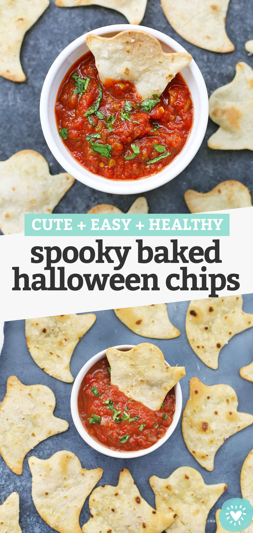 Spooky Baked Ghost Chips - You only need 15 minutes and 3 ingredients to make these adorable Halloween chips. The perfect spooky Halloween snack! Don't miss our favorite dips below! (Gluten-Free, Paleo-Friendly, Vegan-Friendly) // Halloween Snacks for Kids // Healthy Halloween Snack // Baked Ghost Chips // Halloween Chips #snack #halloween #fallrecipe #kidssnack #partyfood