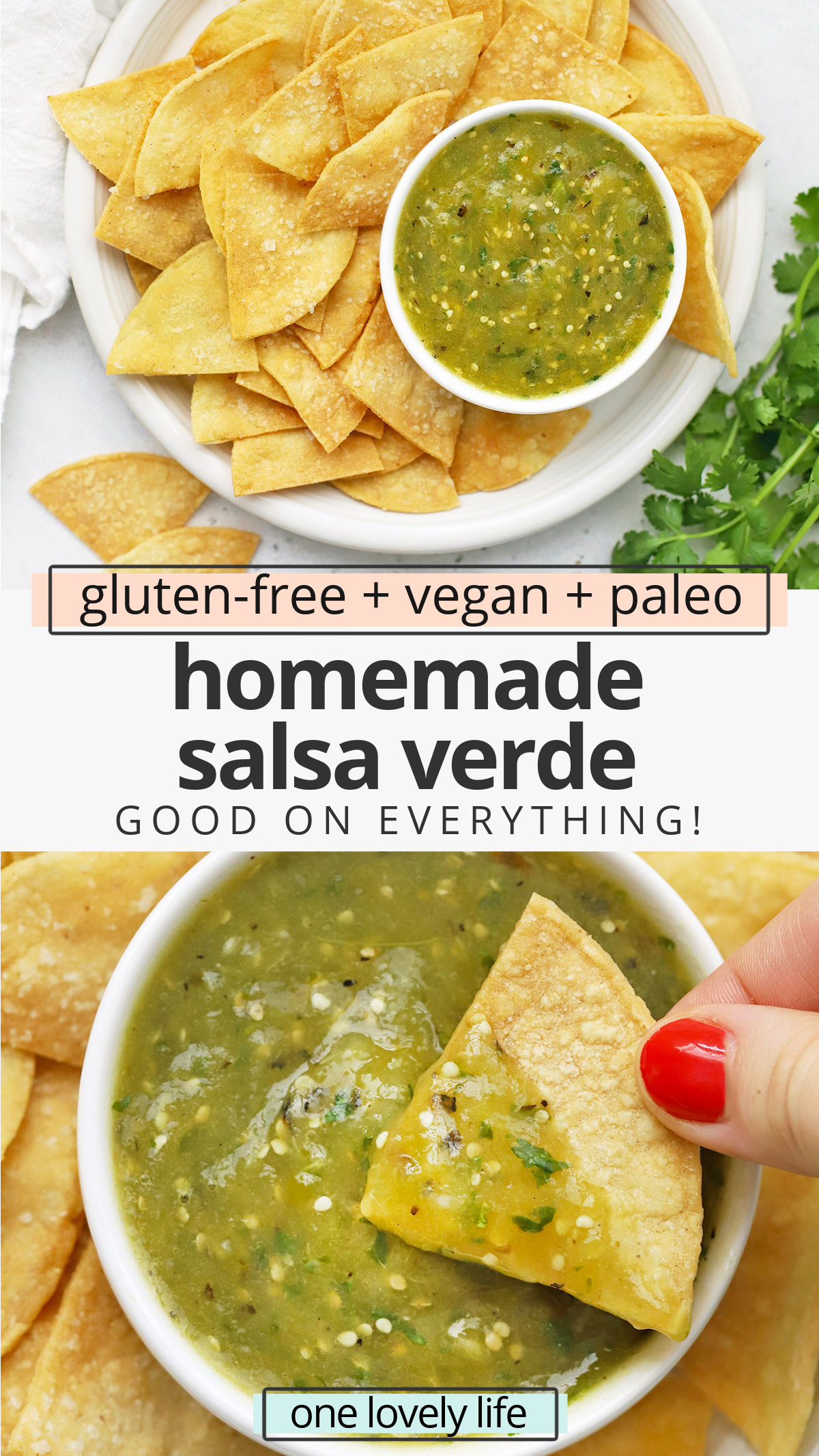 Homemade Salsa Verde - Made with tomatillos, this fresh green salsa is good on just about anything! Don't miss all our favorite ways to use it below. (Naturally vegan, paleo, and gluten-free) // Green Salsa Recipe // Salsa Verde Recipe // Tomatillo Salsa Recipe // Paleo Salsa // Vegan Salsa // Healthy Dip #salsa #salsaverde #greensalsa #appetizer #gamedayfood #partyfood