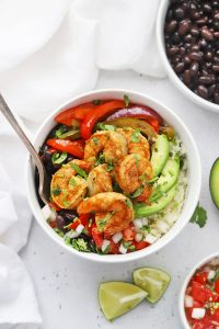 Gluten Free Shrimp Fajita Bowls with avocado, black beans, and pico de gallo