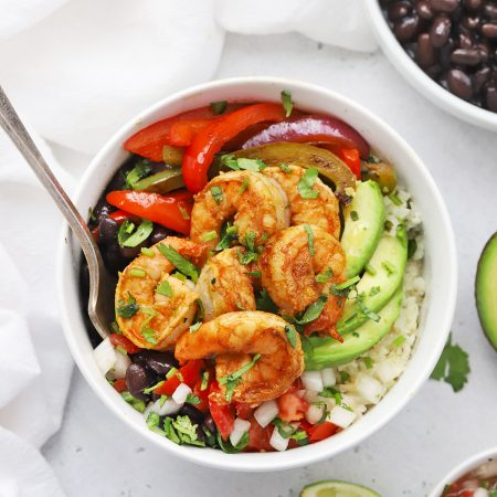 Gluten Free Shrimp Fajita Bowls with avocado, black beans, and pico de gallo