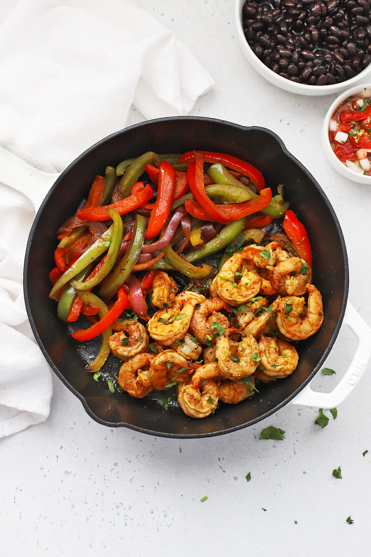 Shrimp Fajitas in a cast iron pan
