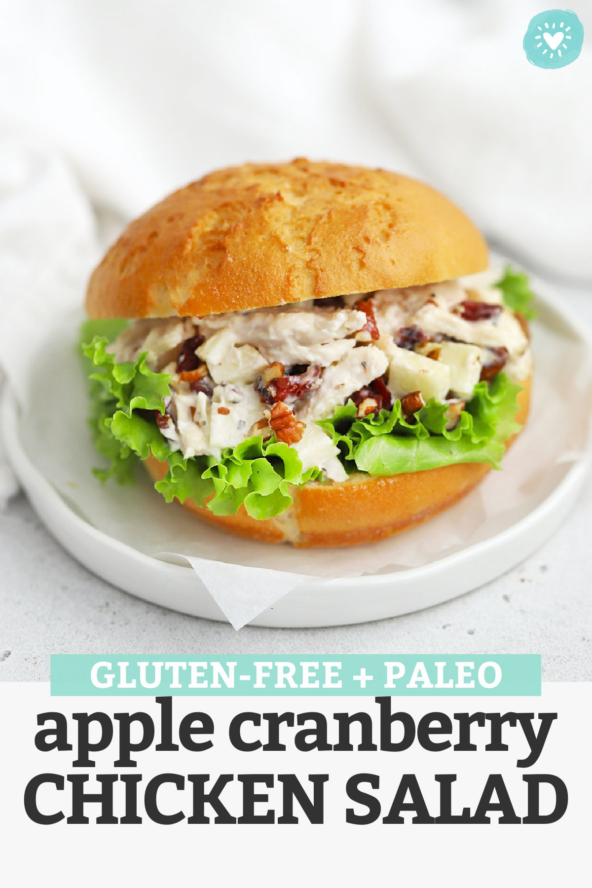 Apple Chicken Salad - This chicken salad with apples is perfect for the start of fall! It's the perfect combination of savory, sweet, creamy, and crunchy. Don't miss all our serving ideas below! (Gluten-Free, Paleo-Friendly) // Apple Chicken Salad // Pecan Chicken Salad // Cranberry Pecan Chicken Salad // Fall Chicken Salad #glutenfree #paleo #chickensalad #mealprep