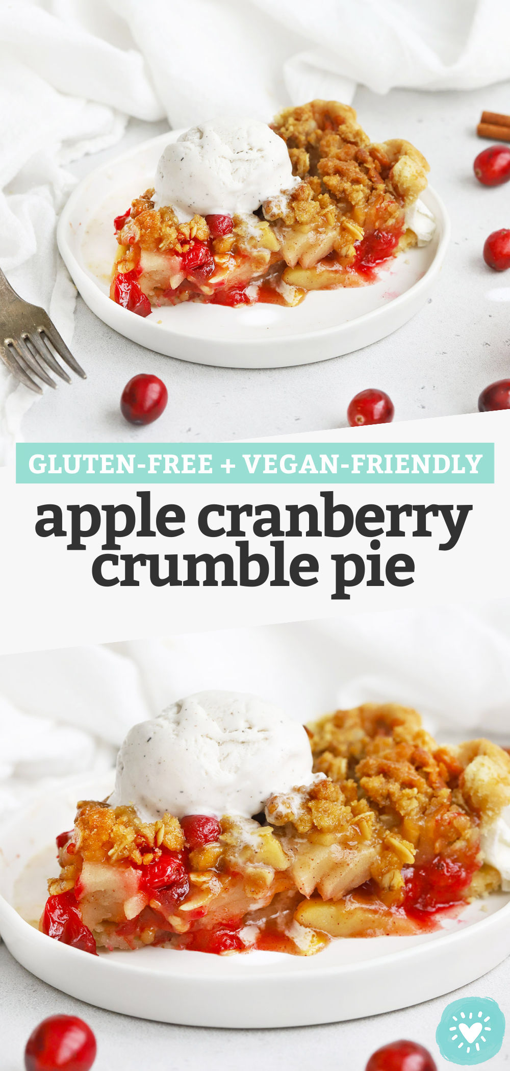 Apple Cranberry Crumble Pie - This Apple Cranberry Pie with crumble topping is what dreams are made of. (Gluten-Free + Vegan-Friendly!) // Cranberry Apple Pie // Fall Pie // Thanksgiving pie // Gluten-free pie // vegan pie #applepie #thanksgiving #pie #applepie