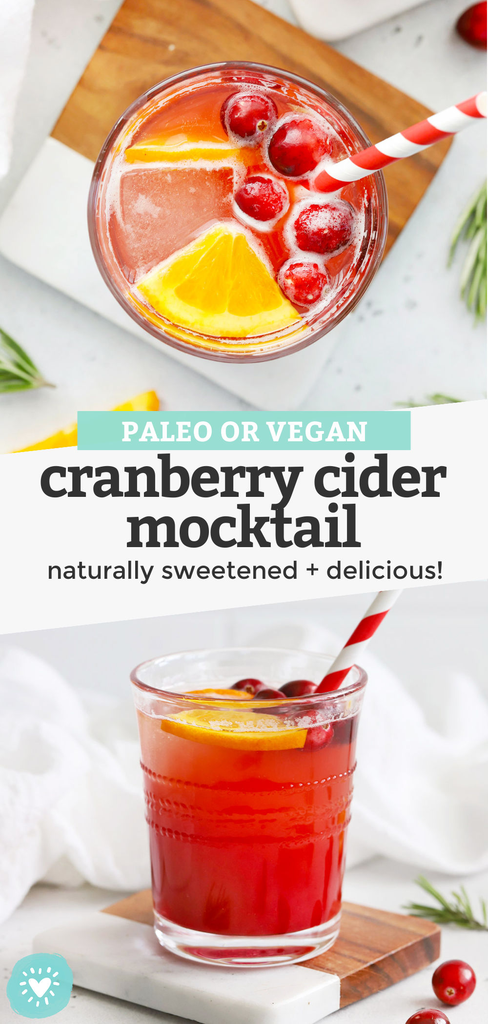 Cranberry Cider Mocktail - This naturally-sweetened fall mocktail recipe is perfect for your holiday table or holiday parties! Make just one or two glasses, or a whole pitcher to enjoy! (Paleo + Vegan) // Paleo Mocktail // Non Alcoholic Cranberry Cider Mocktail // Non Alcoholic Cocktail // Cider Mocktail // Cranberry Mocktail // Fall Mocktail // Non Alcoholic Party Drink #thanskgiving #mocktail #paleo #vegan #cranberries